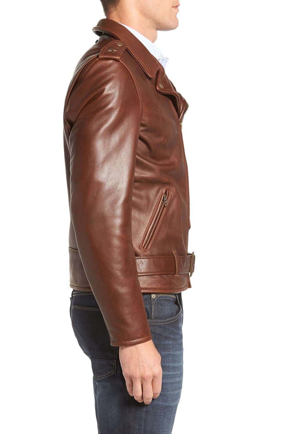 SCHOTT NYC, '50s Oil Tanned Cowhide Leather Moto Jacket, Alternate thumbnail 8, color, BROWN