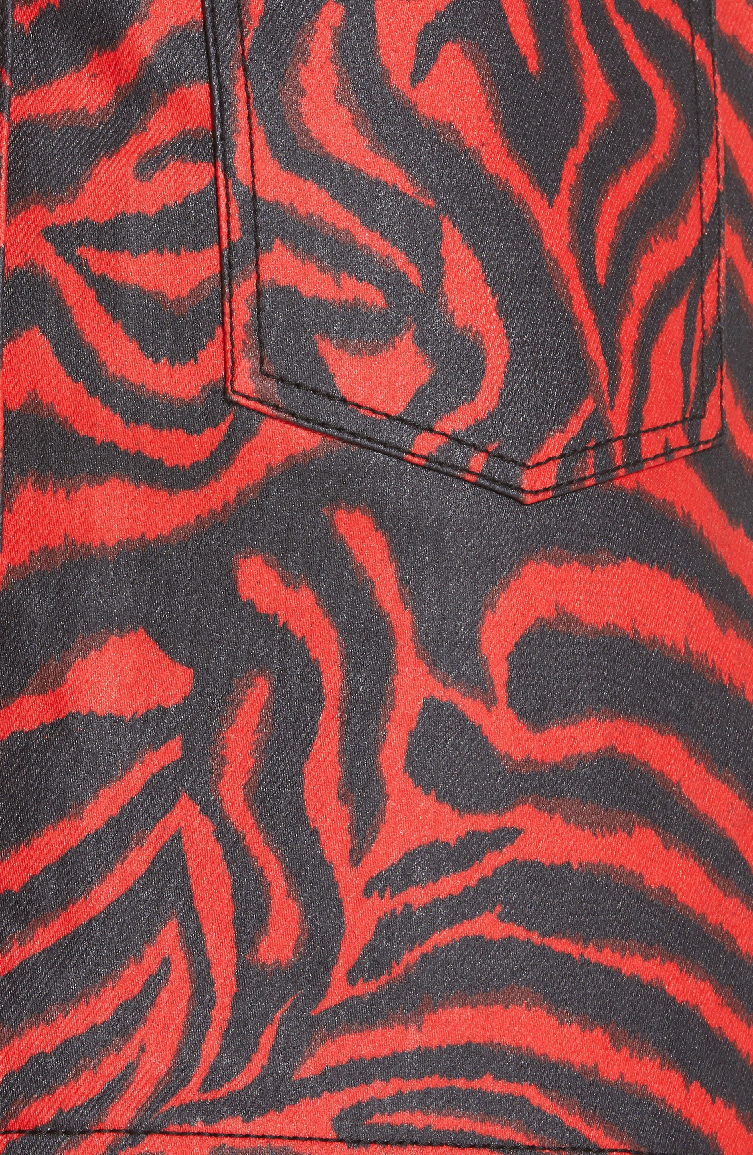 CALVIN KLEIN 205W39NYC, Zebra Print Denim Skirt, Alternate thumbnail 5, color, RED ZEBRA