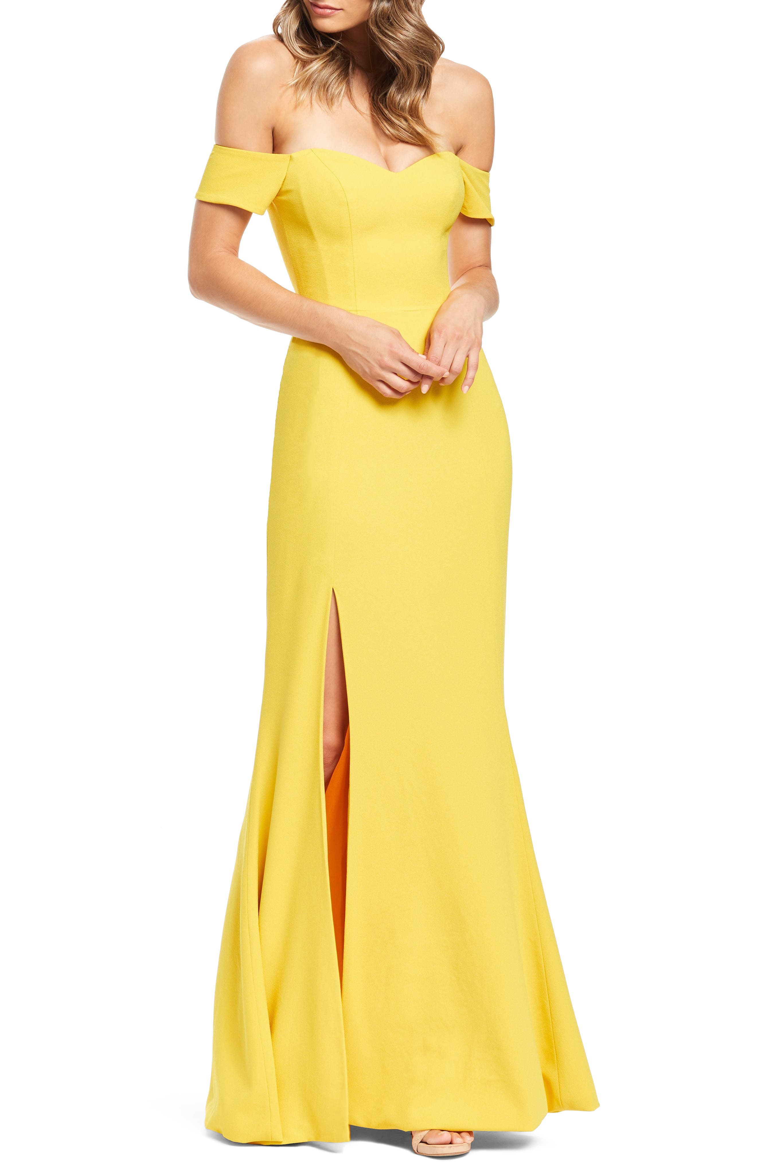 Dress The Population Logan Off The Shoulder Evening Dress, Yellow