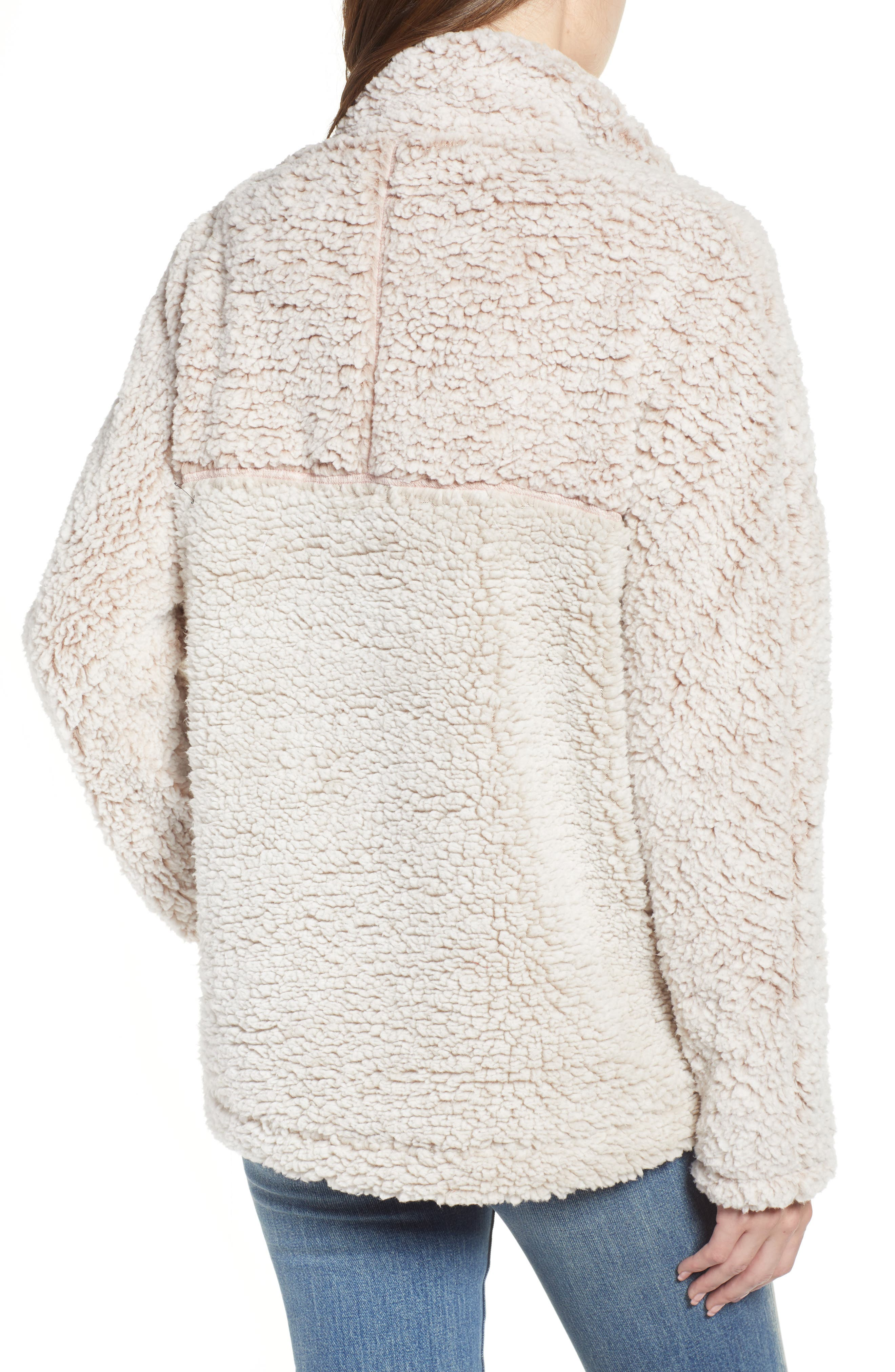 THREAD & SUPPLY, Colorblock Wubby Fleece Pullover, Alternate thumbnail 2, color, SMOKE ROSE IVORY
