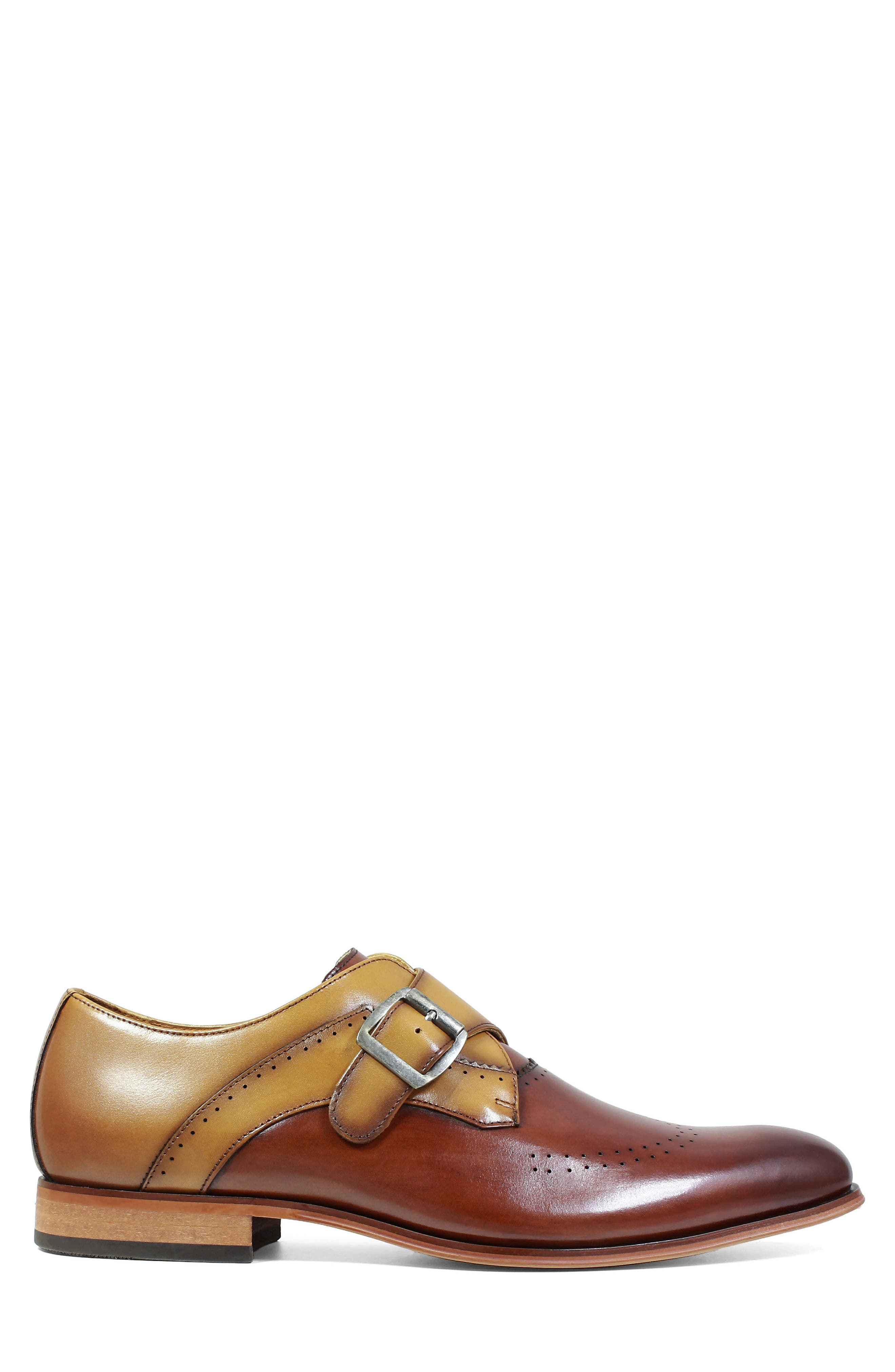 STACY ADAMS, Saxton Perforated Monk Strap Shoe, Alternate thumbnail 3, color, 201