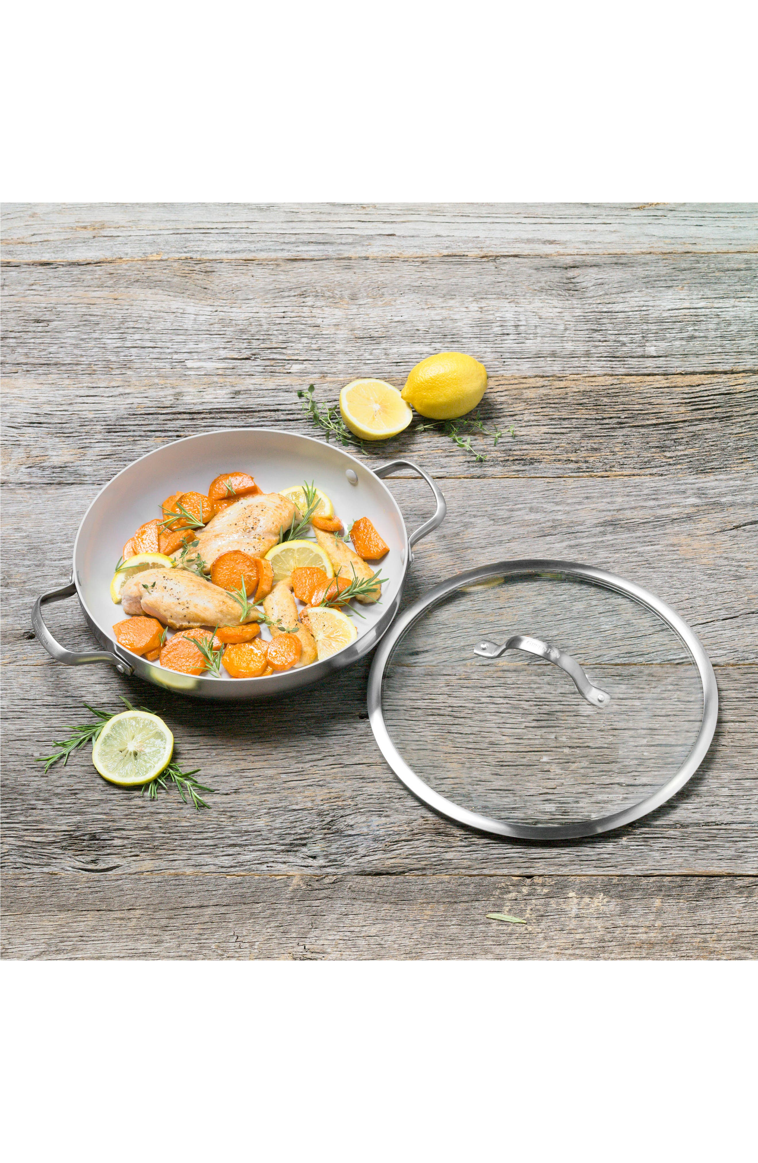 GREENPAN, Venice Pro 12-Inch Multilayer Stainless Steel Ceramic Nonstick Sauté Pan with Glass Lid, Alternate thumbnail 3, color, STAINLESS STEEL
