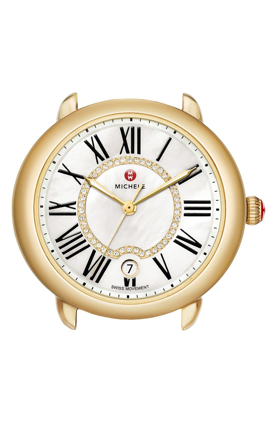 MICHELE Serein 16 Diamond Dial Watch Head, 34mm x 36mm, Main, color, GOLD