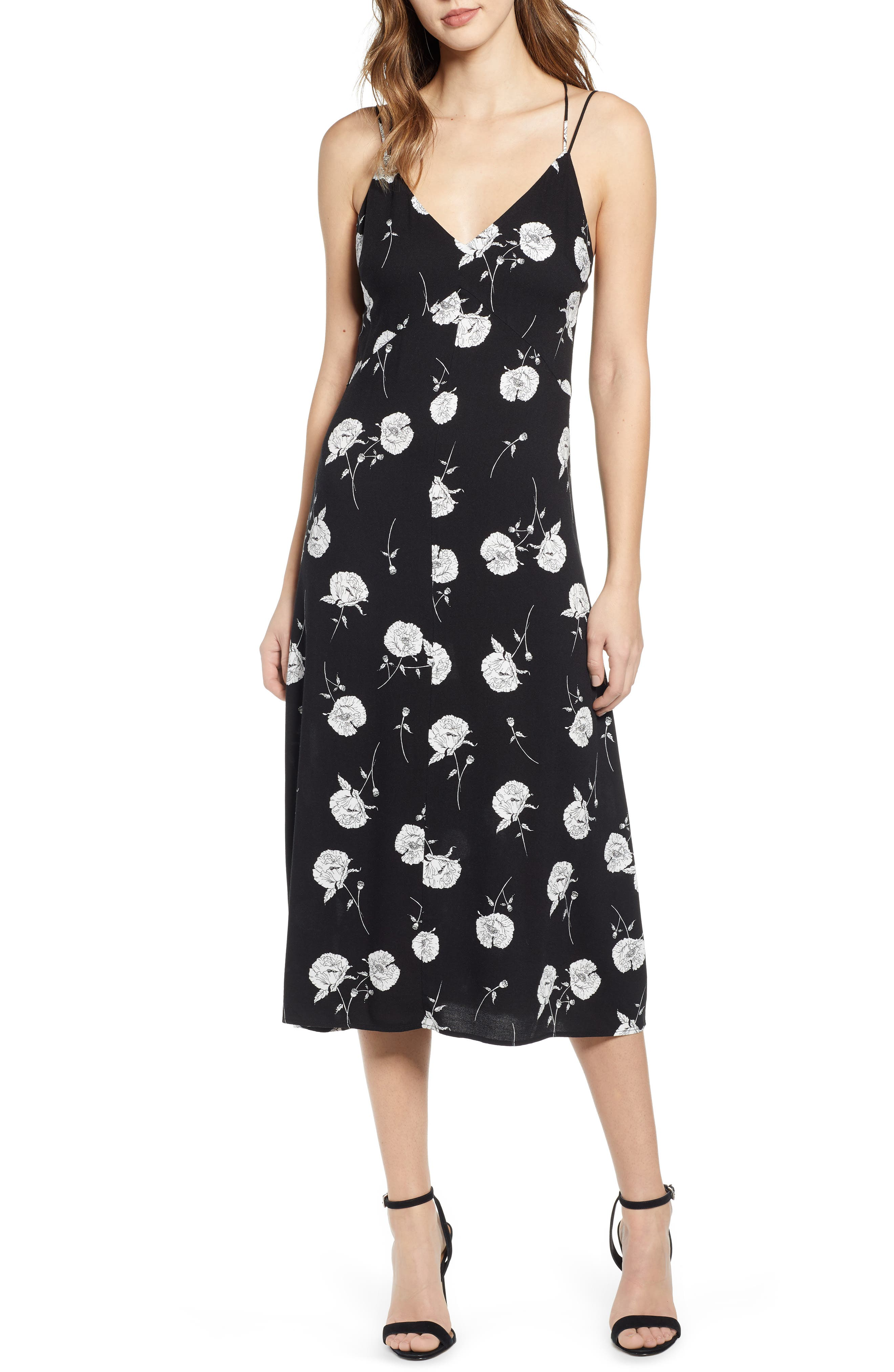 LEITH Floral Strappy Midi Dress, Main, color, BLACK TWO FLORAL