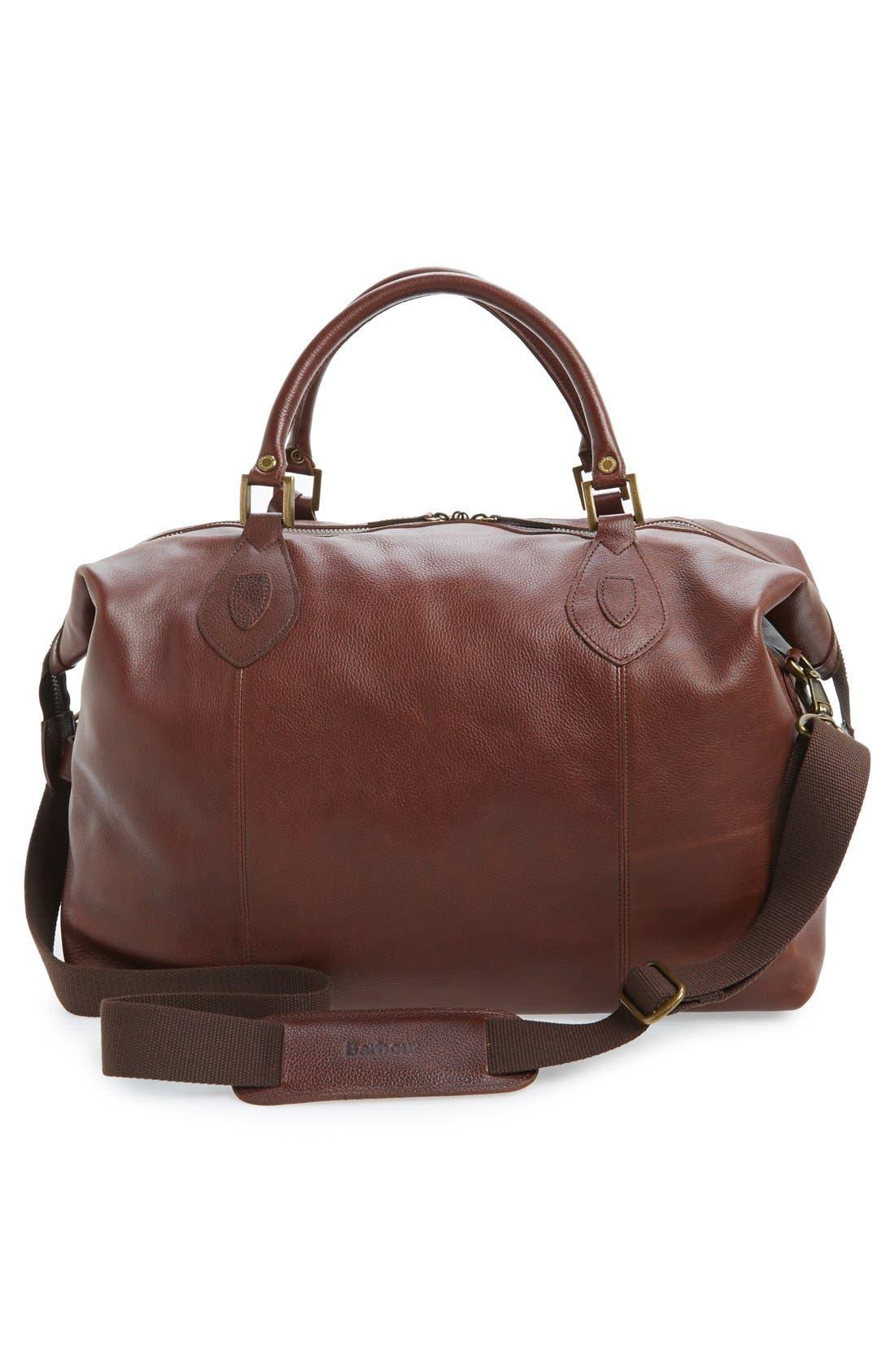 BARBOUR, Leather Travel Bag, Alternate thumbnail 5, color, DARK BROWN