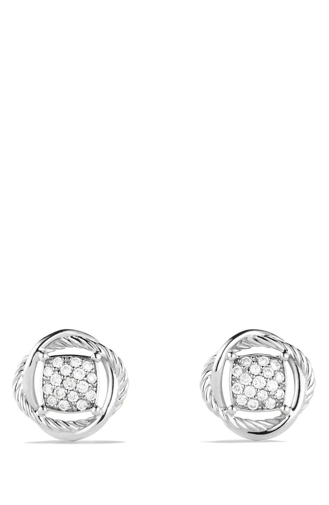DAVID YURMAN, 'Infinity' Pavé Diamond Stud Earrings, Alternate thumbnail 3, color, DIAMOND