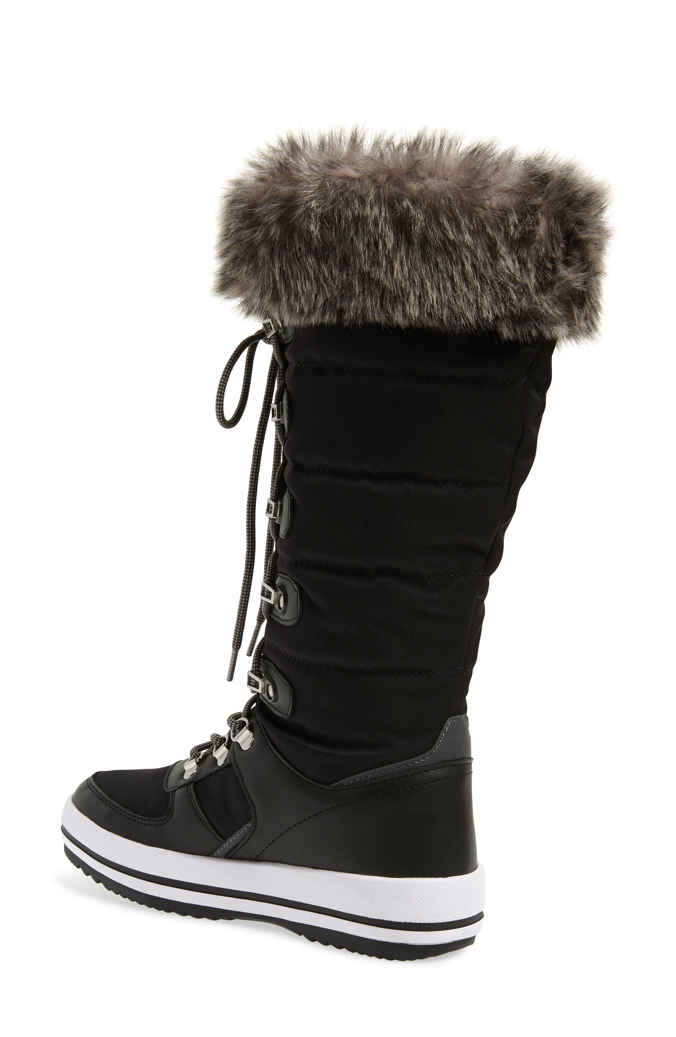 COUGAR, Vesta Faux Fur Collar Knee High Snow Boot, Alternate thumbnail 2, color, BLACK FABRIC