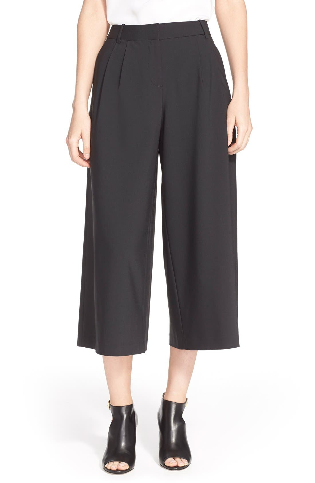 TIBI, Pleated Silk Culottes, Main thumbnail 1, color, 001