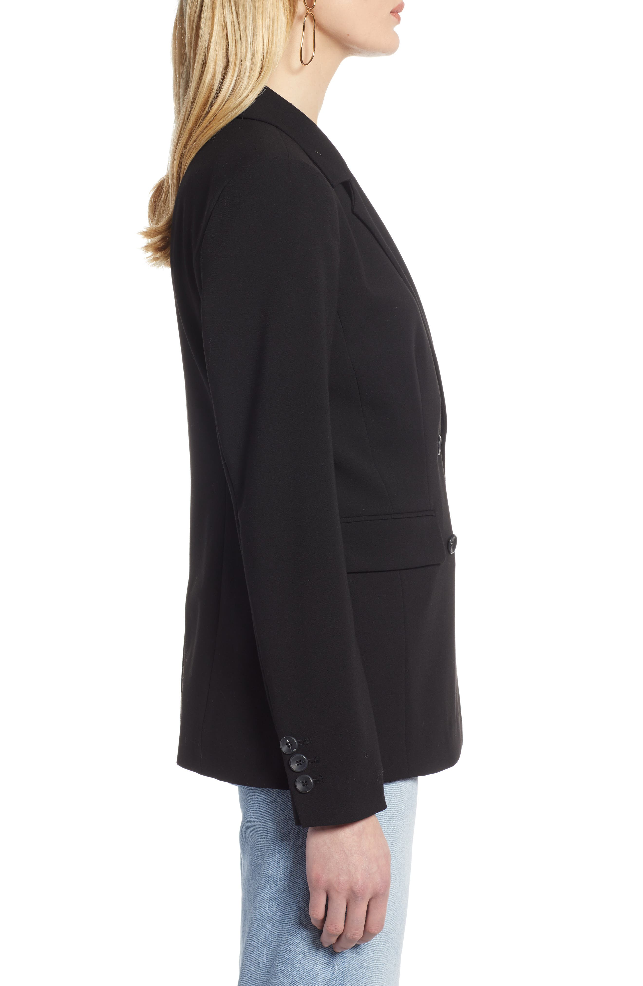 HALOGEN<SUP>®</SUP>, Double Breasted Blazer, Alternate thumbnail 4, color, BLACK