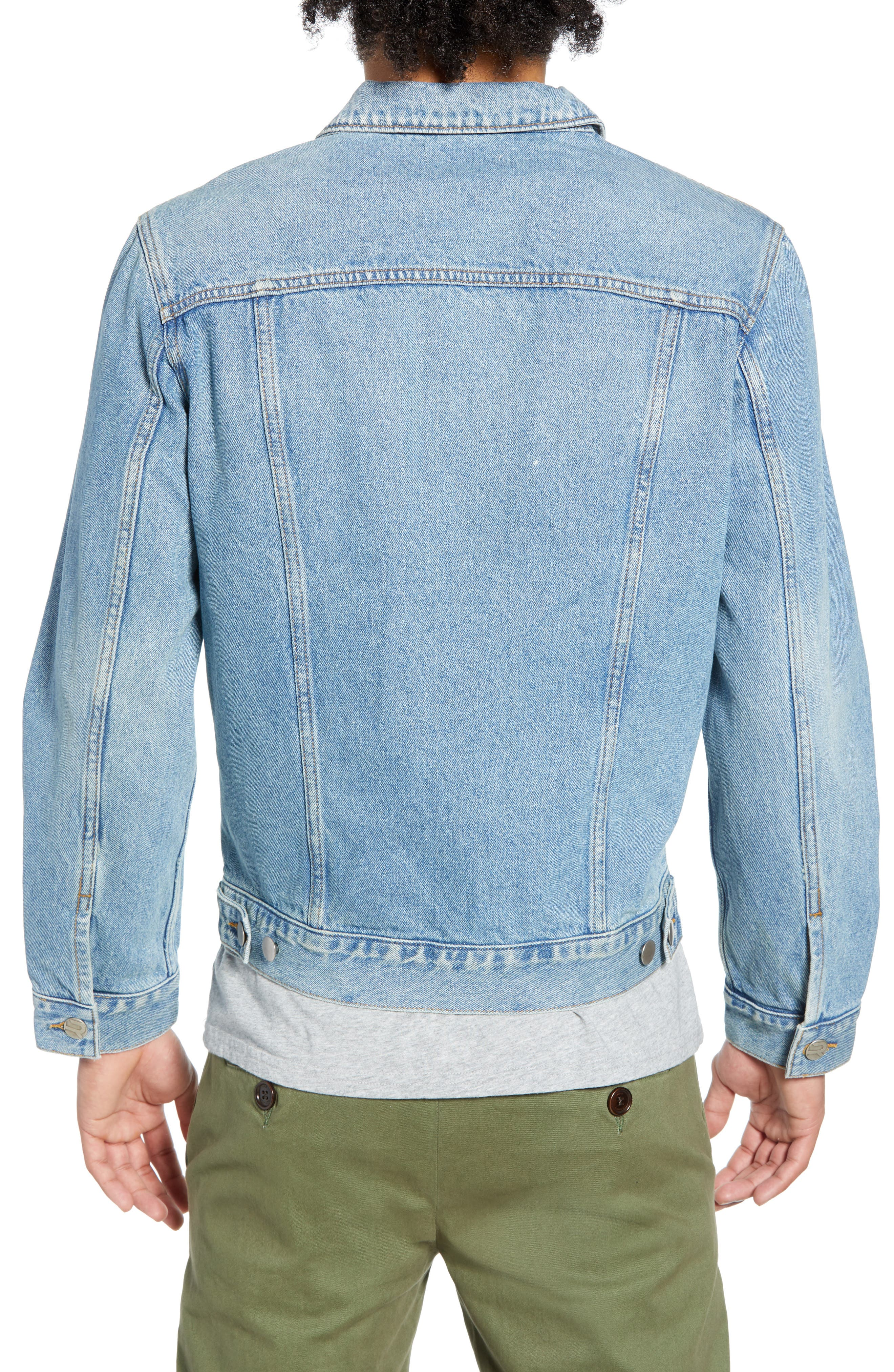 THE RAIL, Denim Jacket, Alternate thumbnail 2, color, BLUE TREK WASH