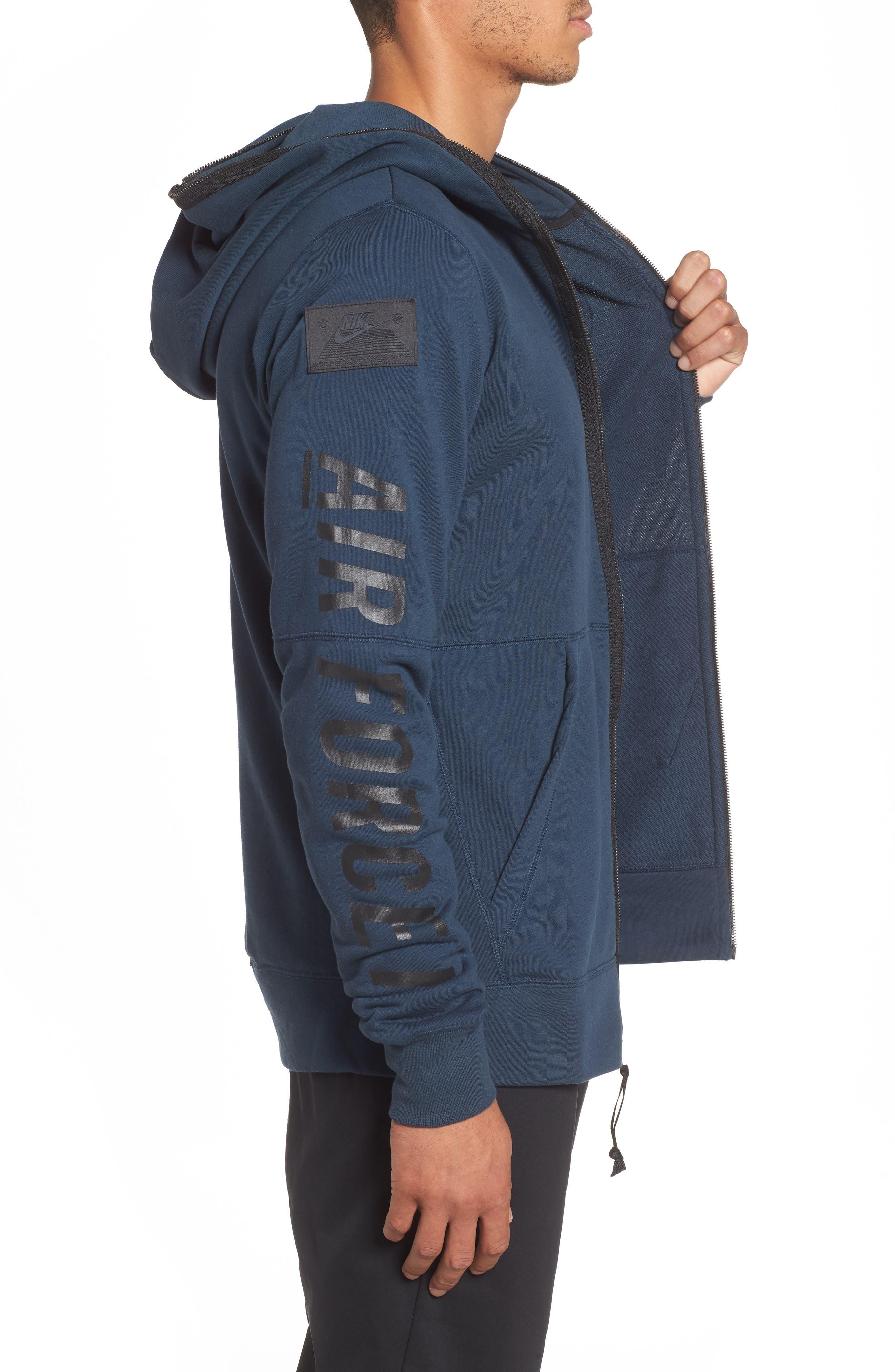 NIKE, Air Force One Zip Hoodie Jacket, Alternate thumbnail 4, color, ARMORY NAVY/ BLACK