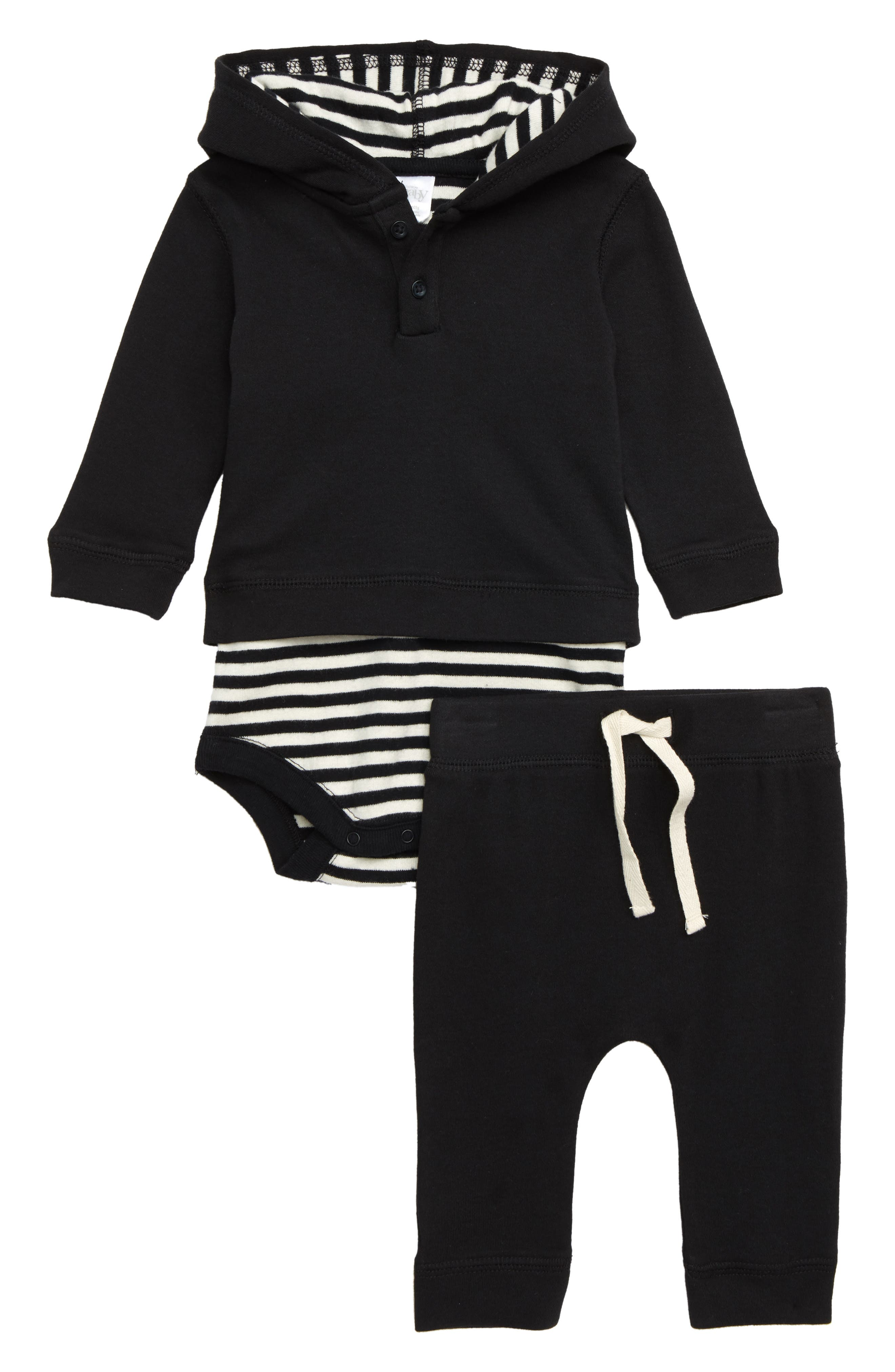 NORDSTROM BABY, Hooded Bodysuit & Sweatpants Set, Main thumbnail 1, color, 001