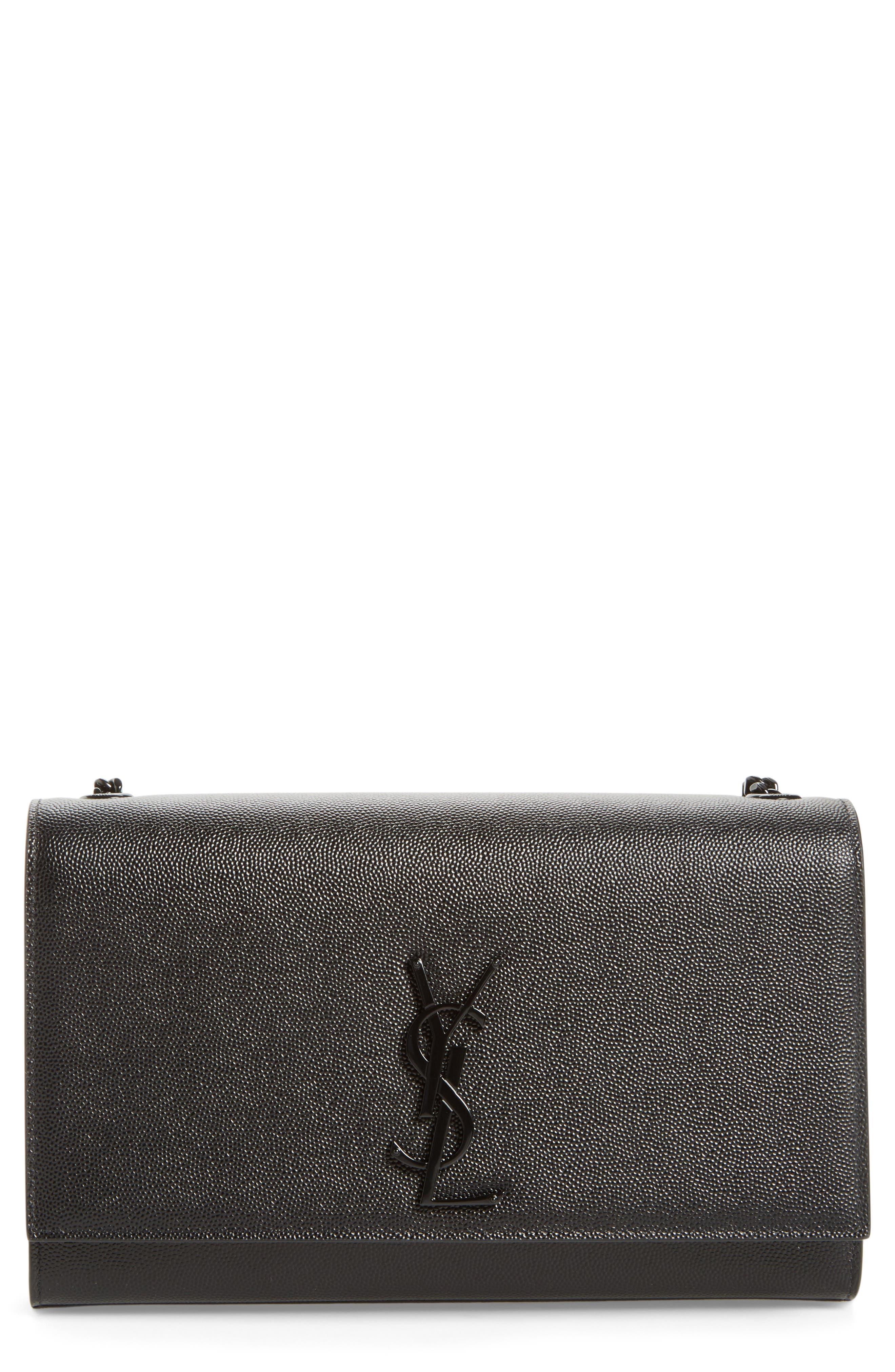 SAINT LAURENT, Medium Monogram Leather Crossbody Bag, Main thumbnail 1, color, NERO