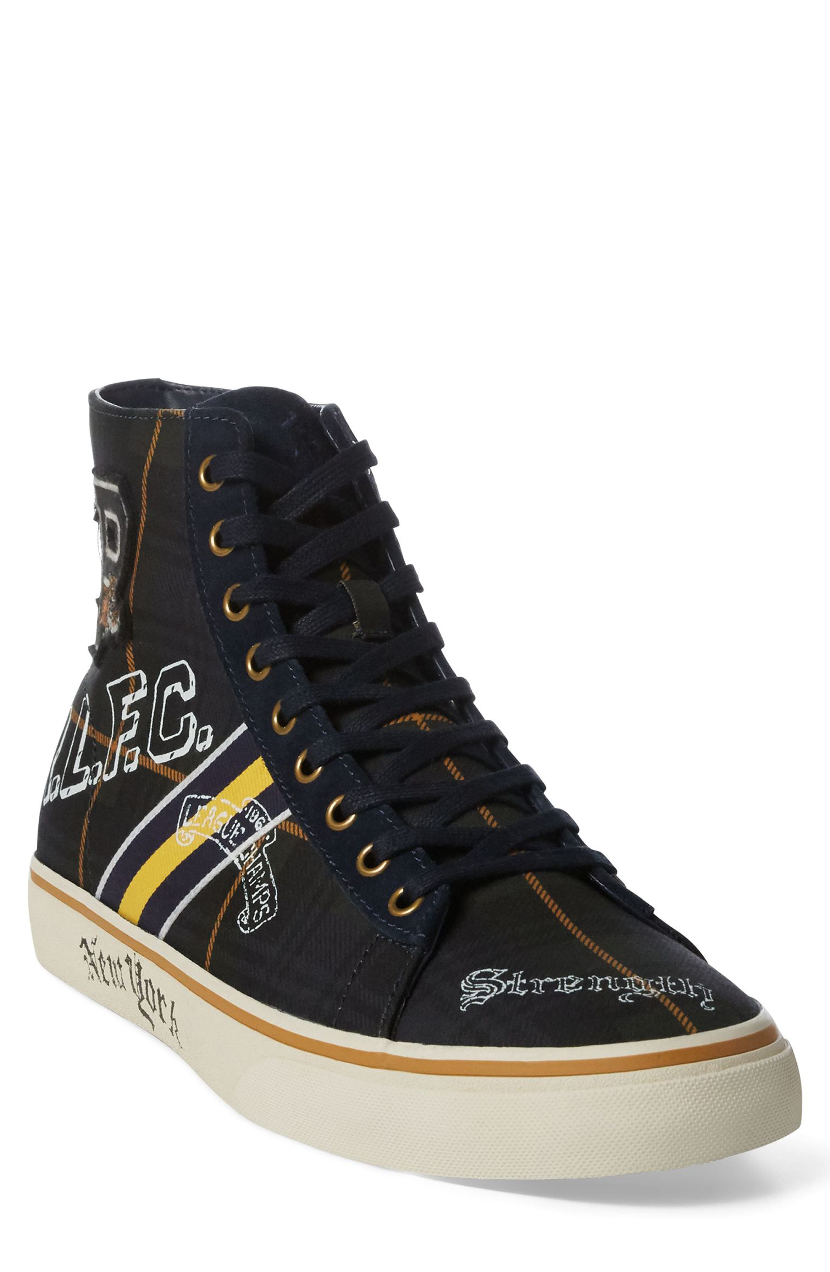 POLO RALPH LAUREN Solomon II Sneaker, Main, color, MULTI BLACK/ YELLOW CANVAS
