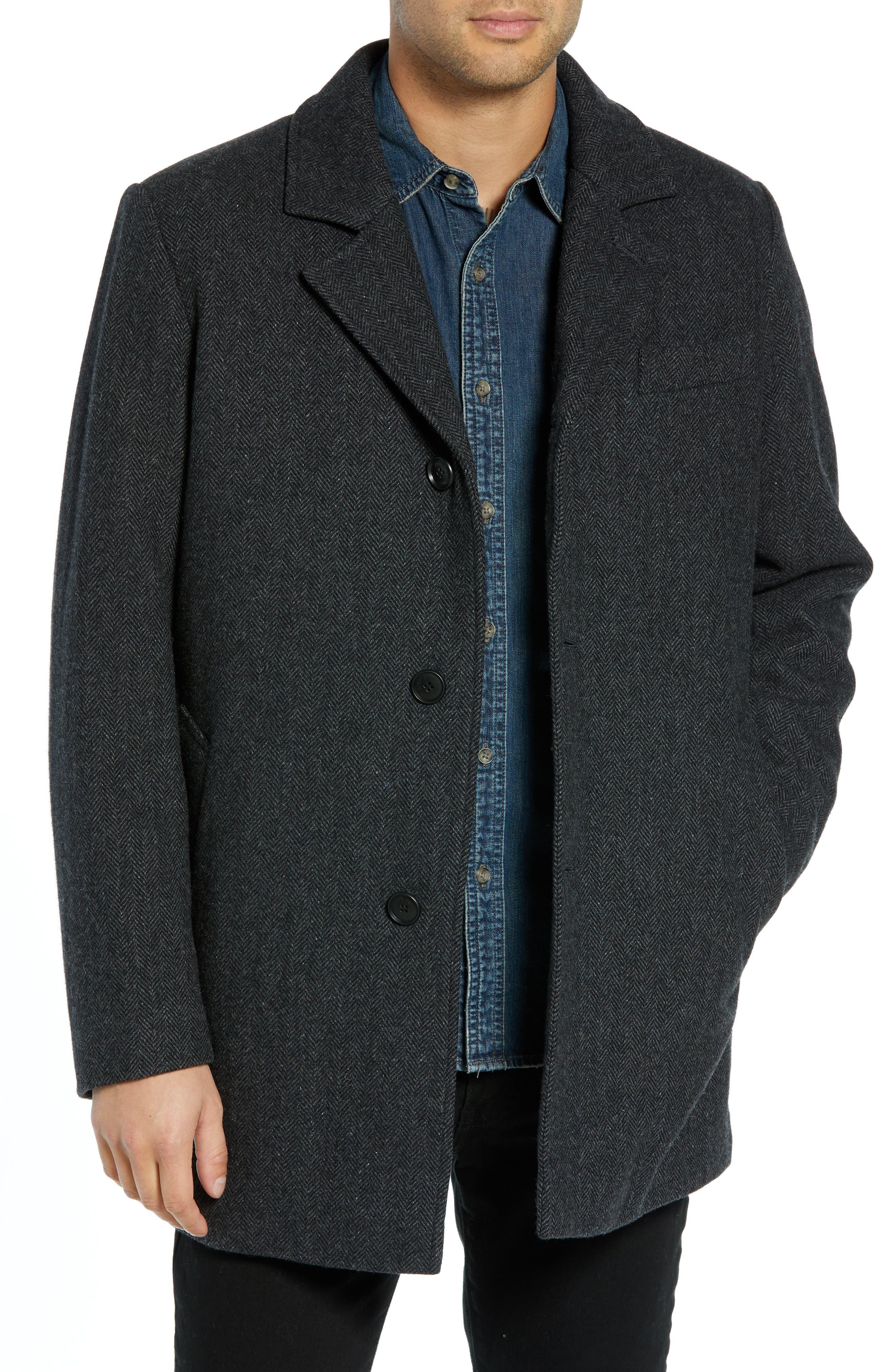 PENDLETON, Iconic Textures Manhattan Wool Blend Top Coat, Main thumbnail 1, color, CHARCOAL HERRINGBONE
