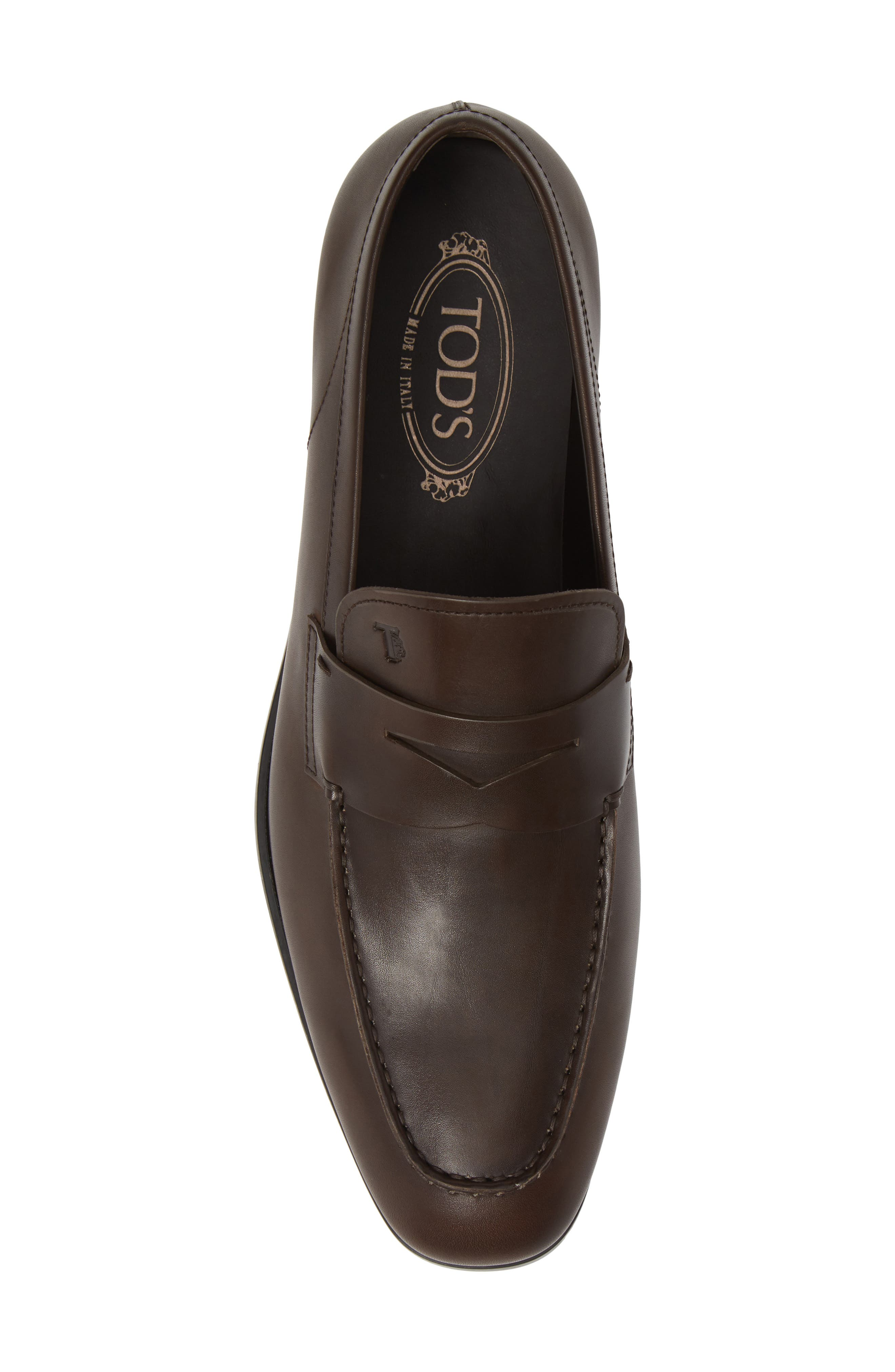 TOD'S, Mocassino Penny Loafer, Alternate thumbnail 5, color, DARK BROWN