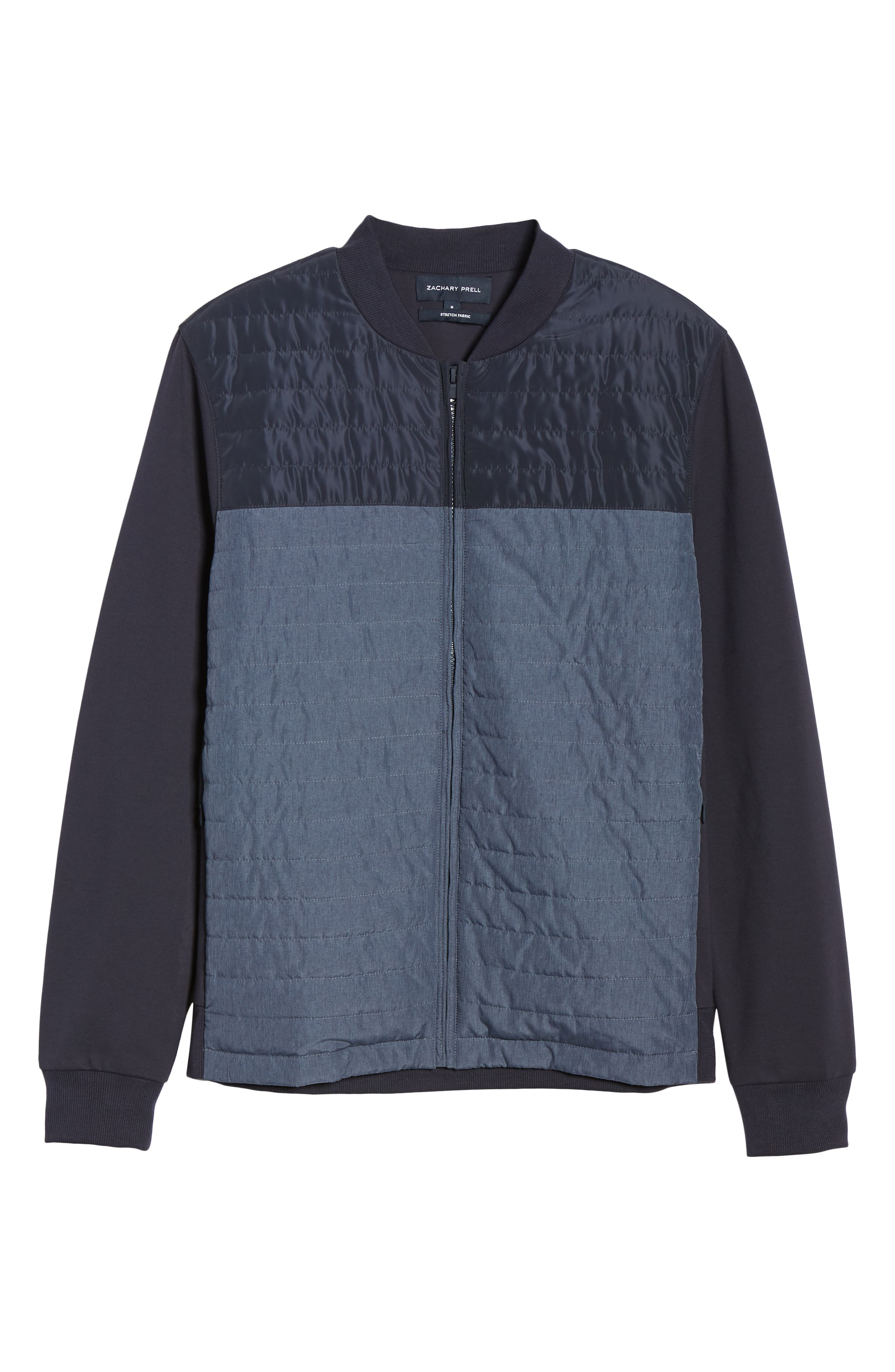 ZACHARY PRELL, Montauk Quilted Bomber Jacket, Alternate thumbnail 6, color, NAVY