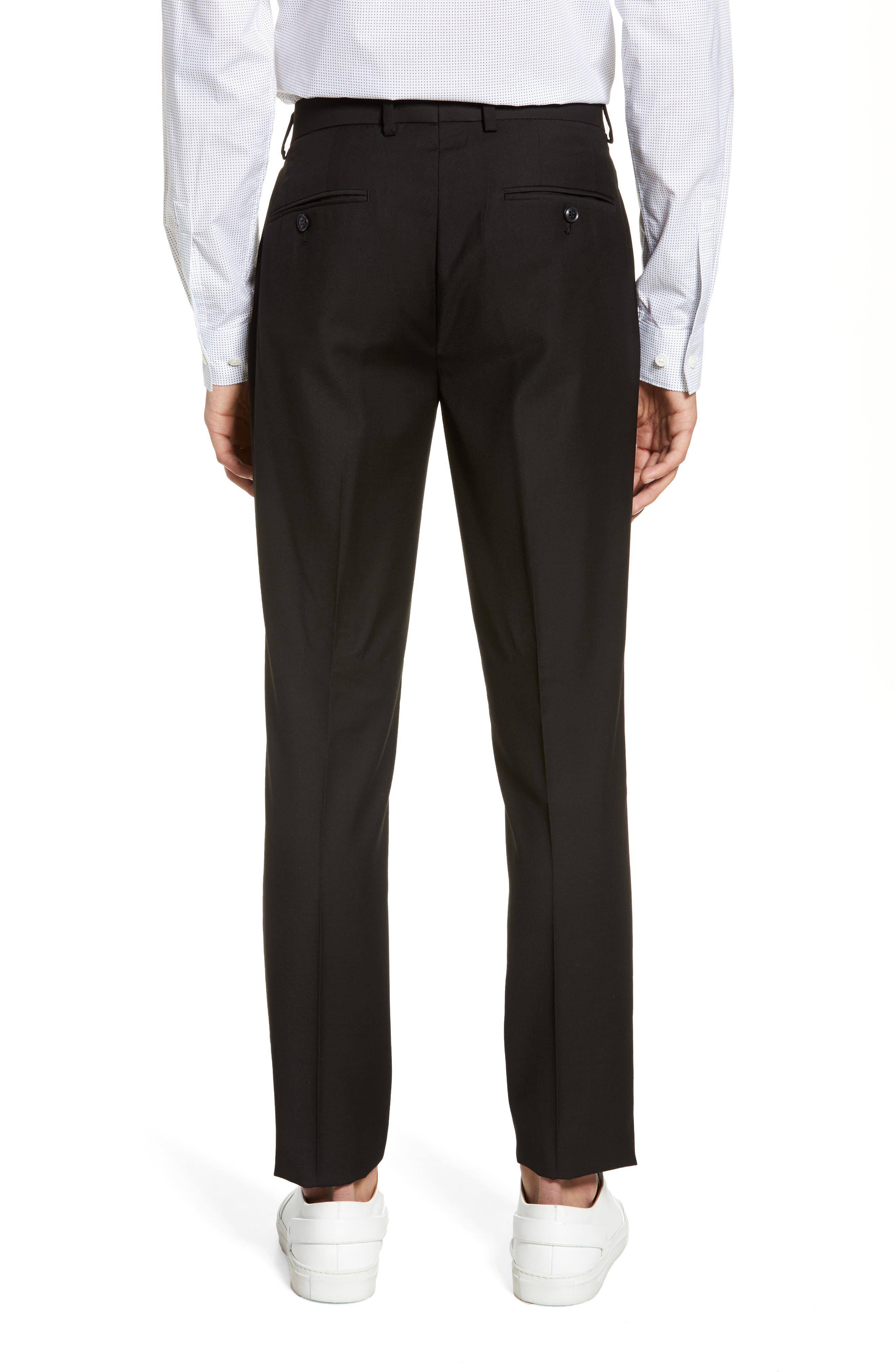 TOPMAN, Black Skinny Fit Trousers, Alternate thumbnail 2, color, BLACK