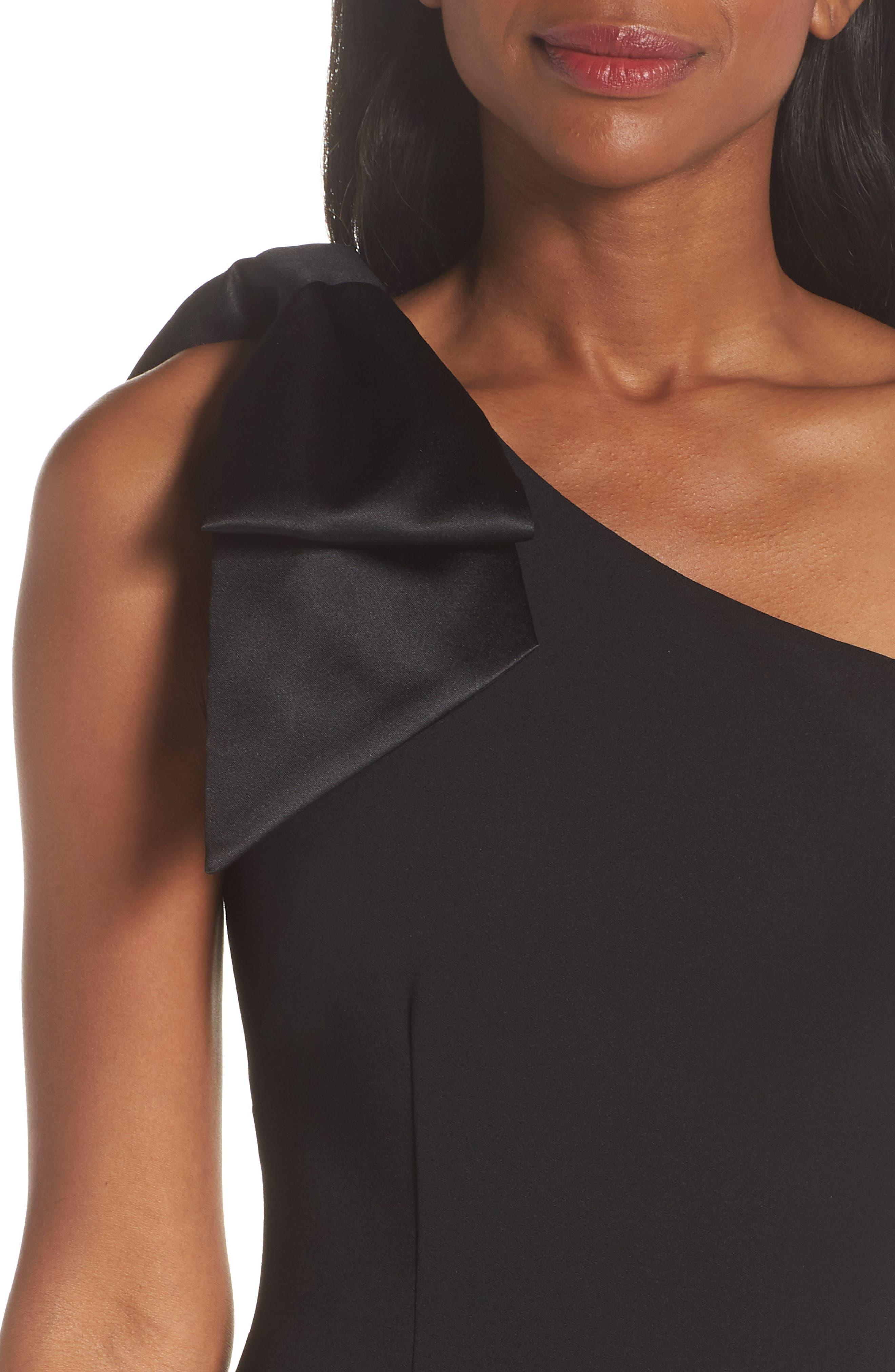 ELIZA J, One-Shoulder A-Line Gown, Alternate thumbnail 5, color, BLACK