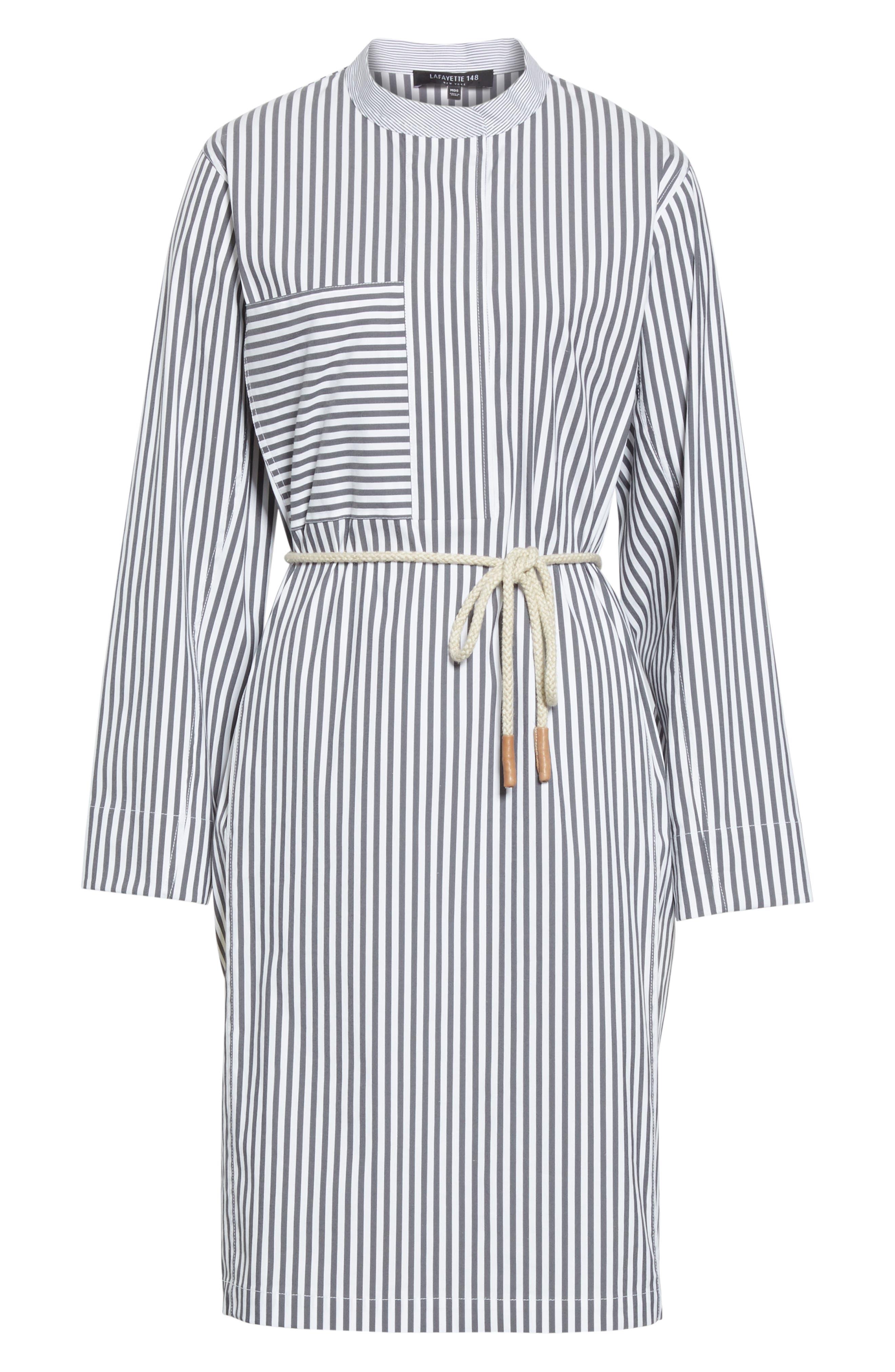 LAFAYETTE 148 NEW YORK, Rexana Stripe Long Sleeve Belted Shirtdress, Alternate thumbnail 7, color, ASH MULTI