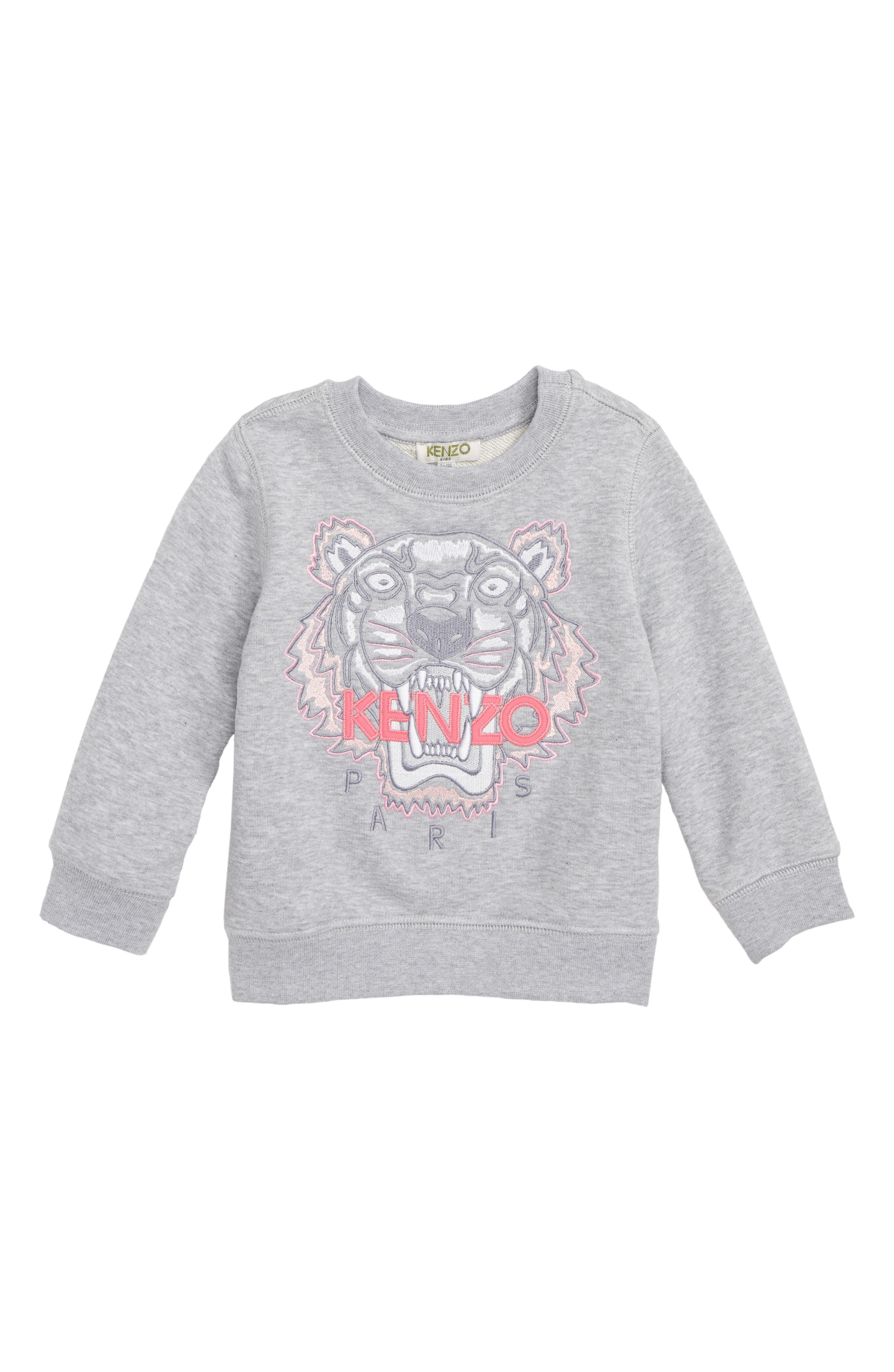 KENZO, Tiger Embroidered Sweatshirt, Main thumbnail 1, color, MARLE GREY