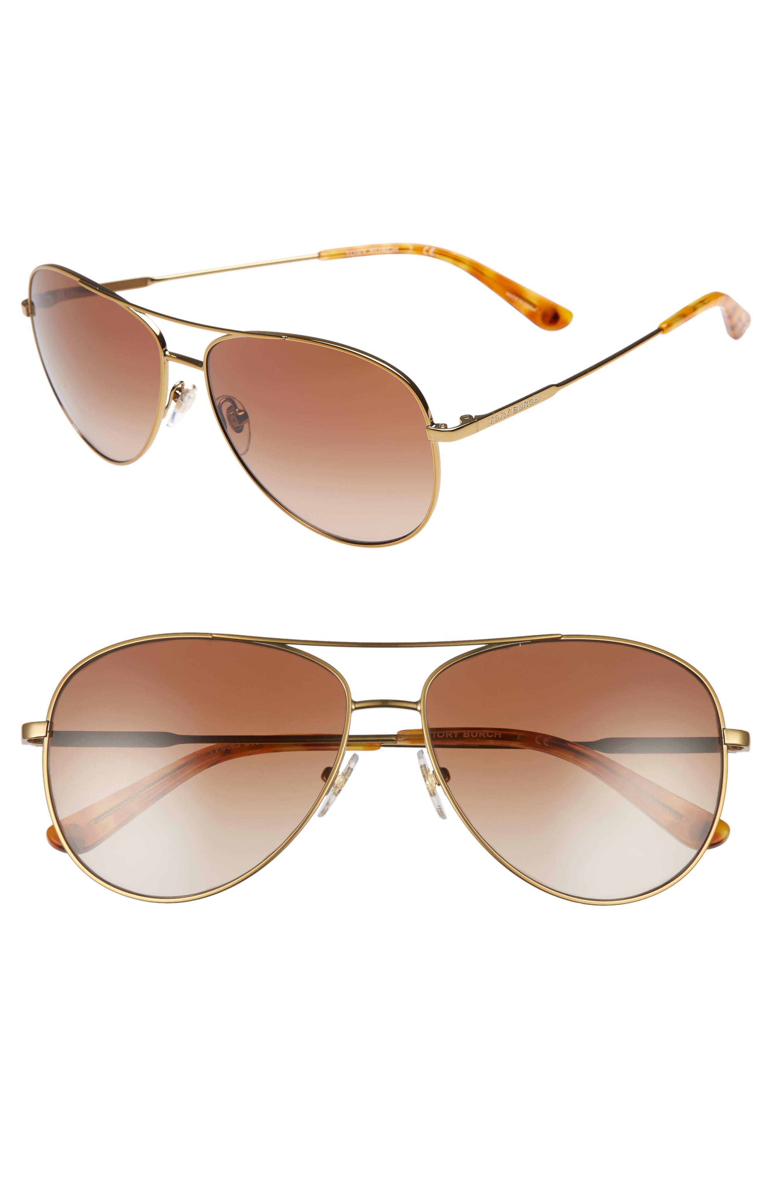TORY BURCH, 59mm Metal Aviator Sunglasses, Main thumbnail 1, color, 710