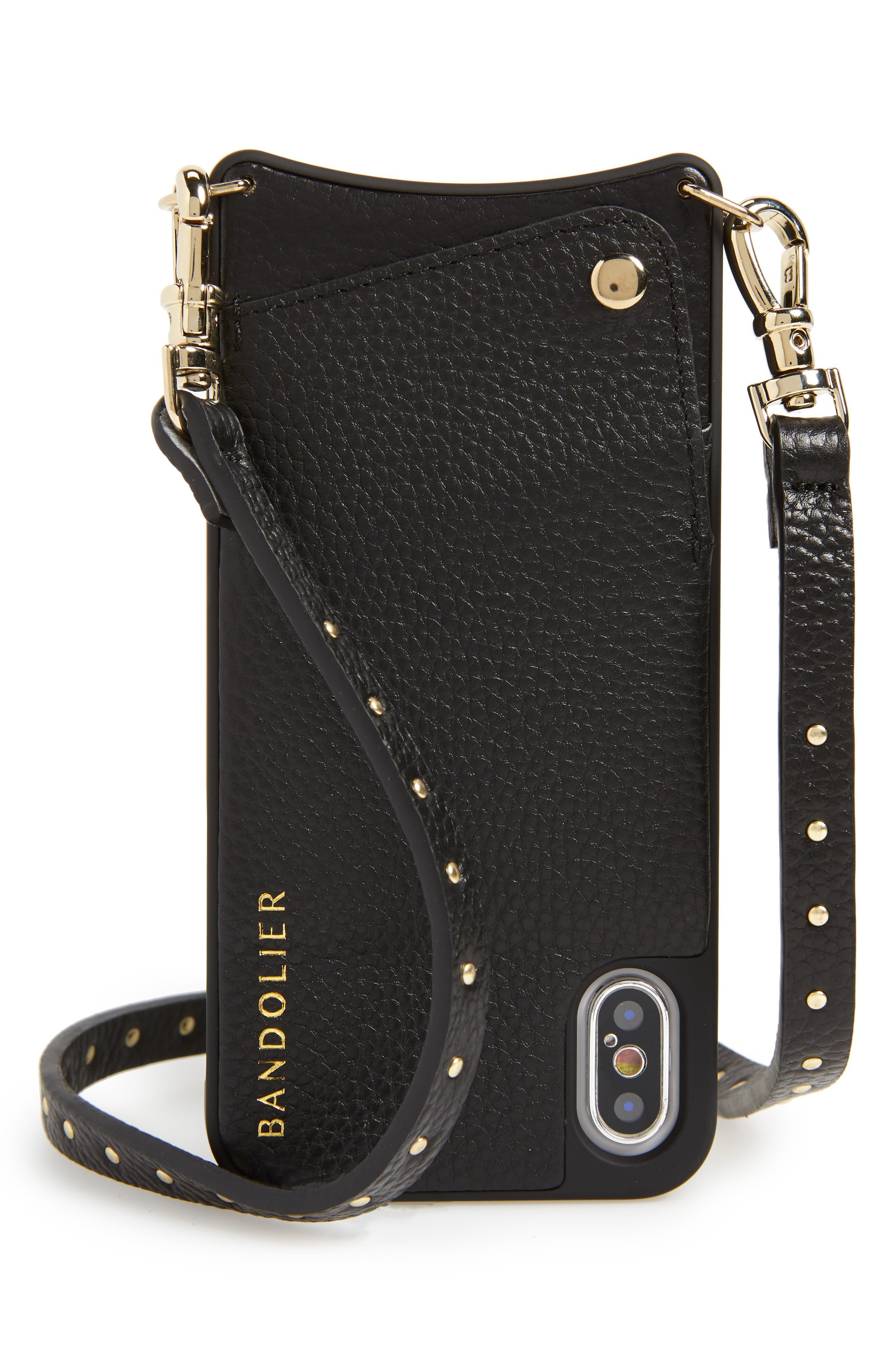 BANDOLIER, Nicole Pebbled Leather 6/7/8 & 6/7/8 Plus Crossbody Case, Main thumbnail 1, color, BLACK/ GOLD