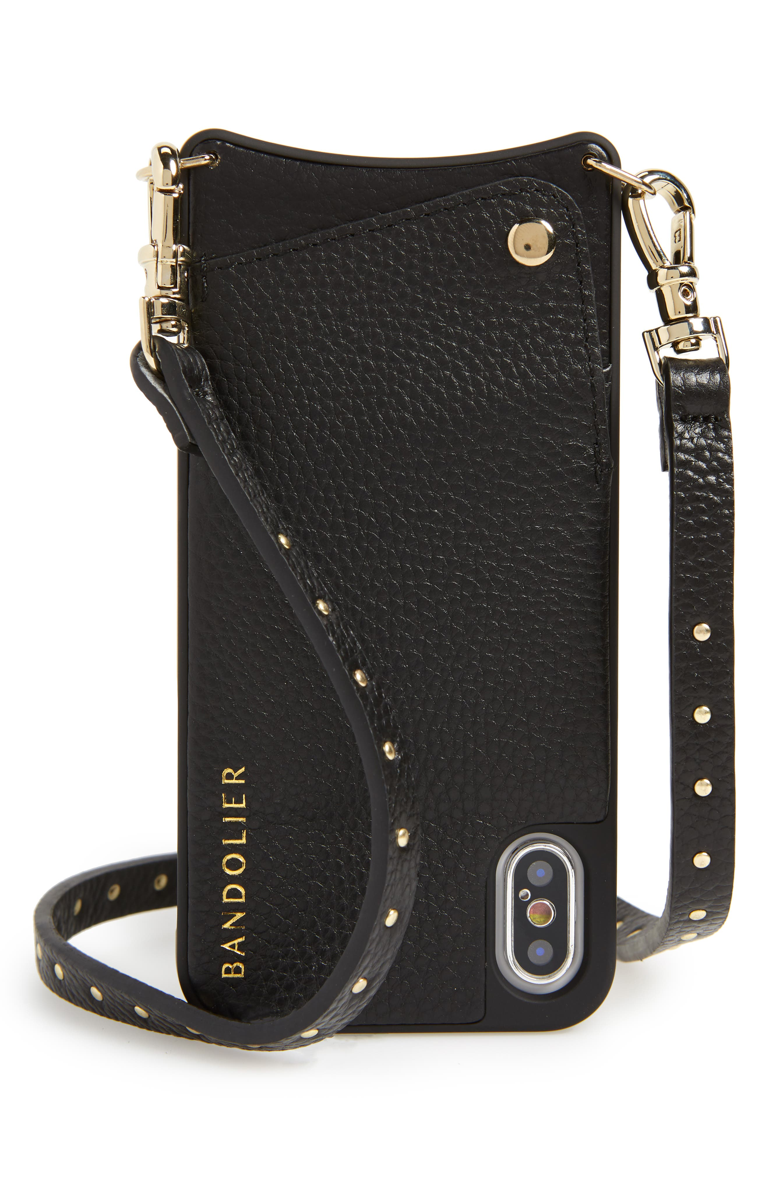BANDOLIER Nicole Pebbled Leather 6/7/8 & 6/7/8 Plus Crossbody Case, Main, color, BLACK/ GOLD