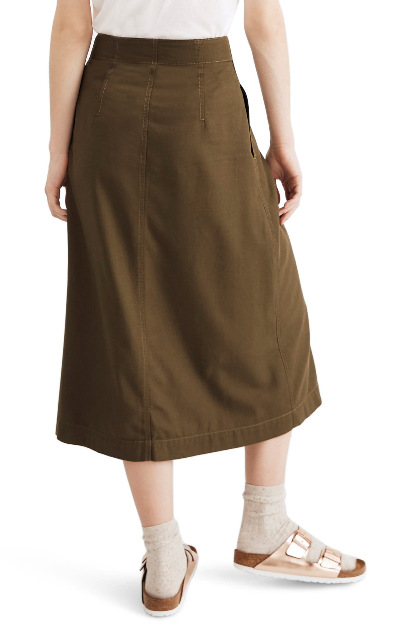 MADEWELL, Patio Button Front Midi Skirt, Alternate thumbnail 2, color, KALE