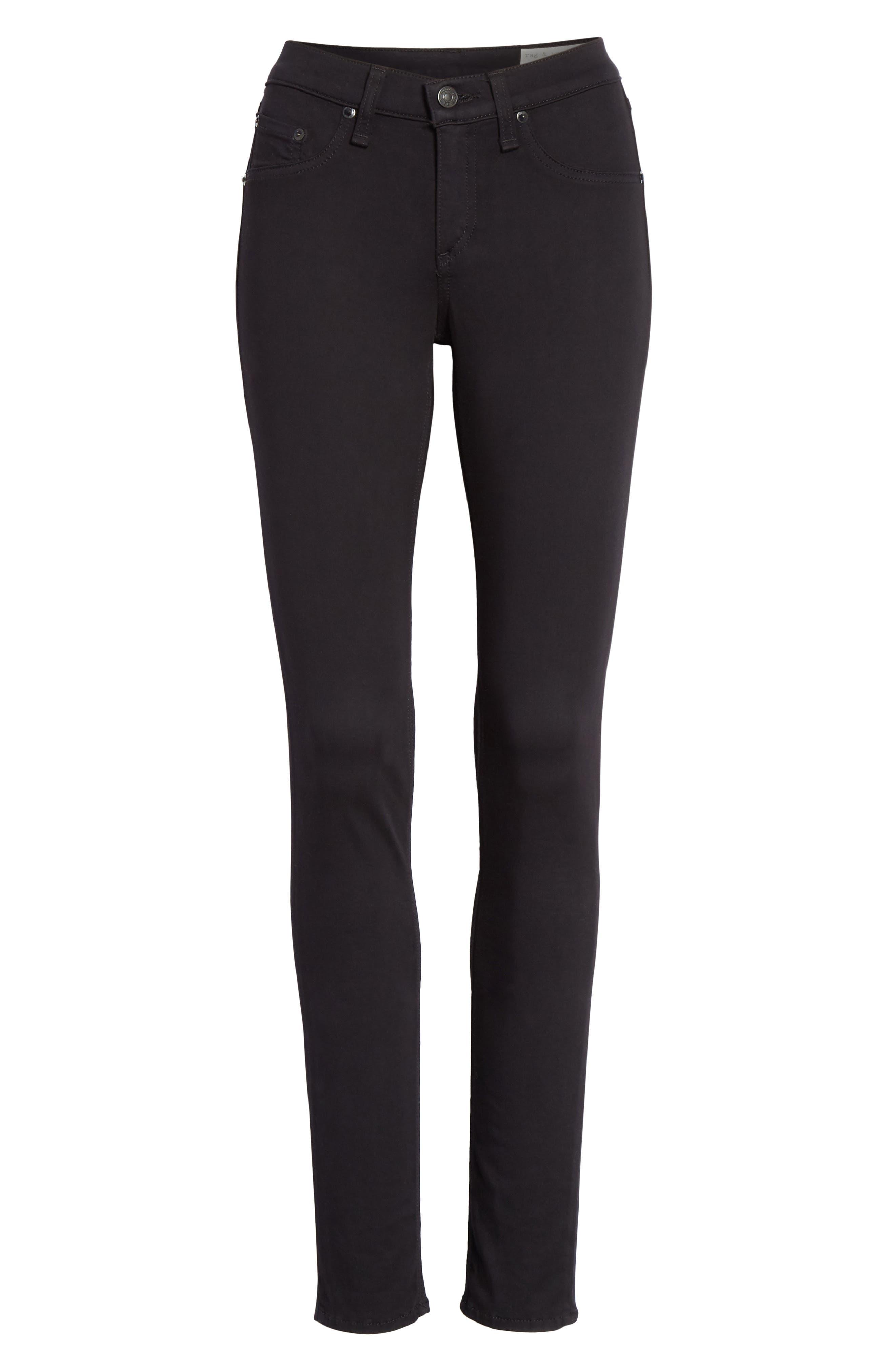 RAG & BONE, High Waist Ankle Skinny Jeans, Alternate thumbnail 7, color, BLACK