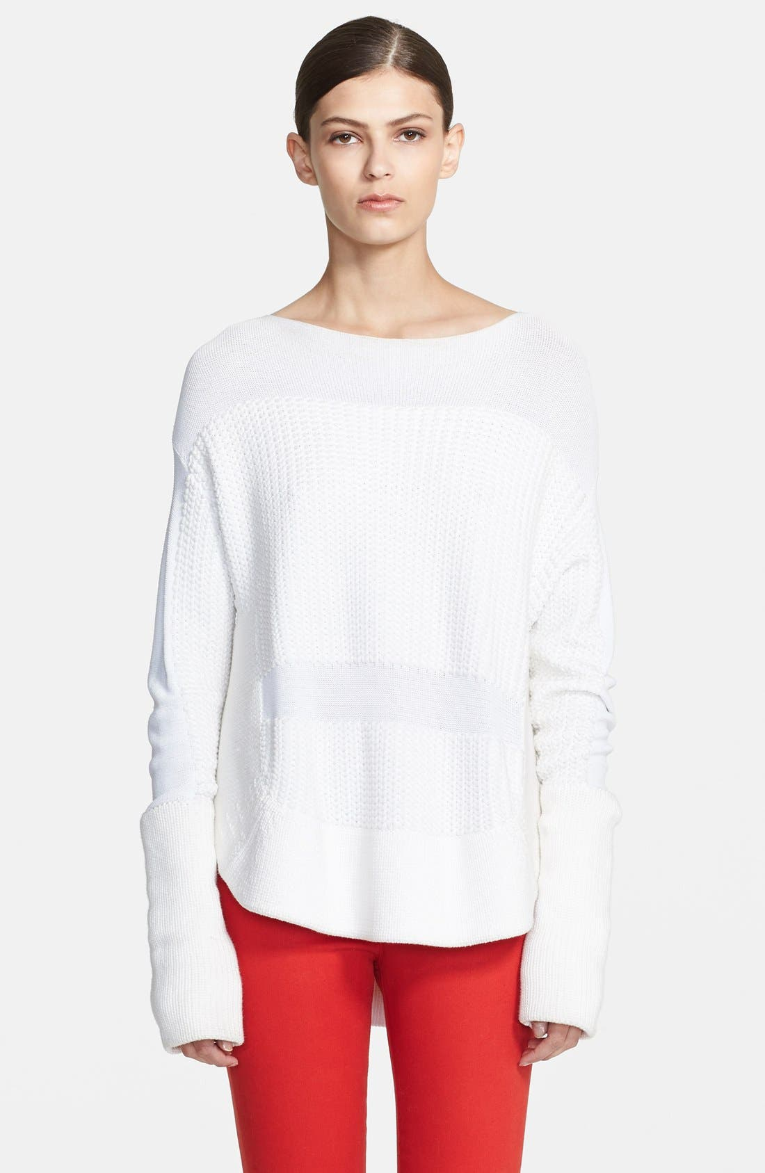 HELMUT LANG, Textured Inlay Sweater, Main thumbnail 1, color, 157