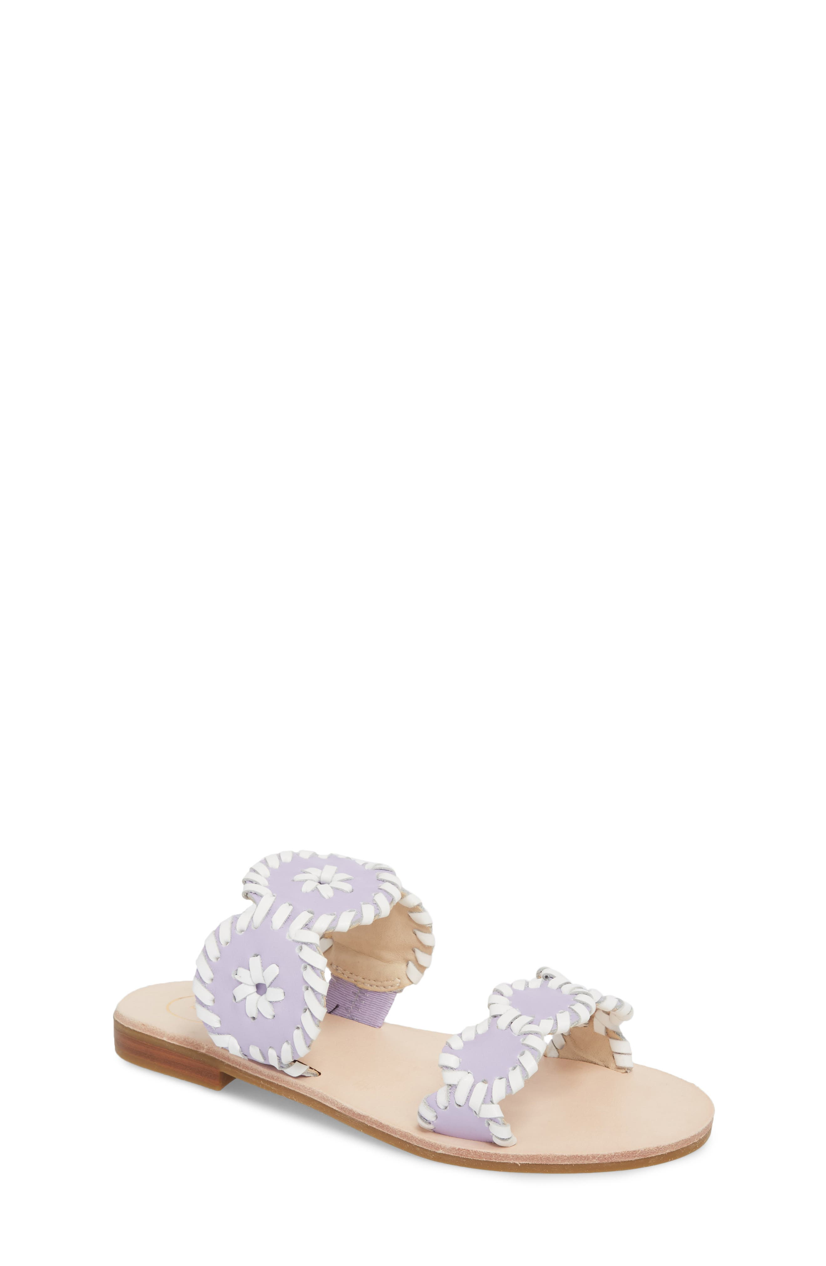 JACK ROGERS, Miss Lauren Sandal, Main thumbnail 1, color, LILAC/ WHITE LEATHER
