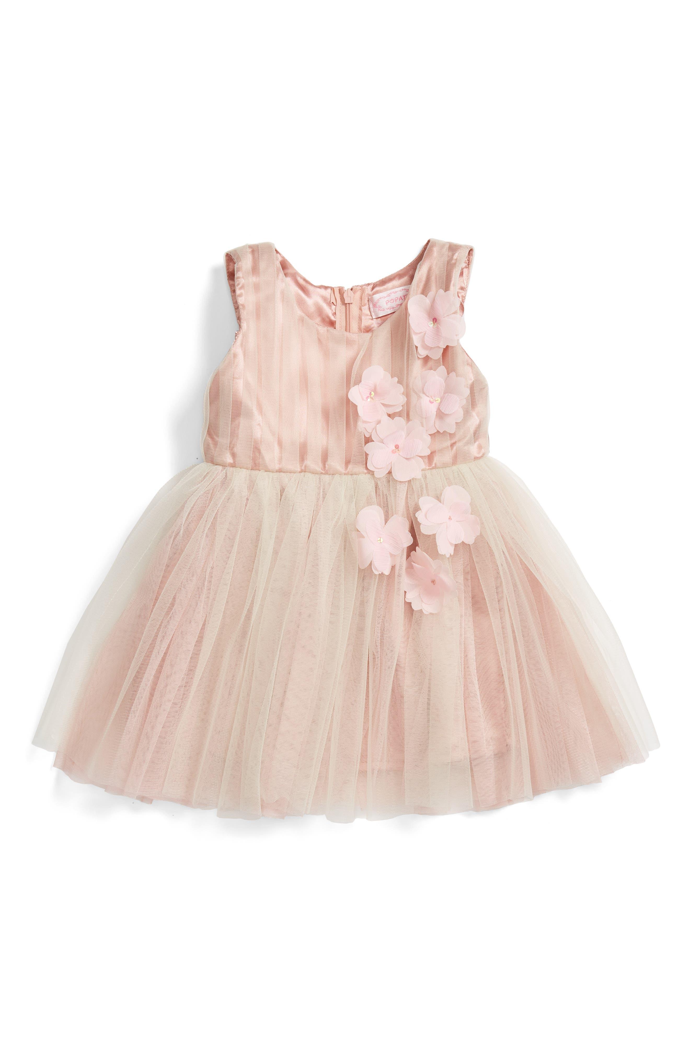 POPATU, Sleeveless Rosette Tulle Dress, Alternate thumbnail 3, color, TAUPE