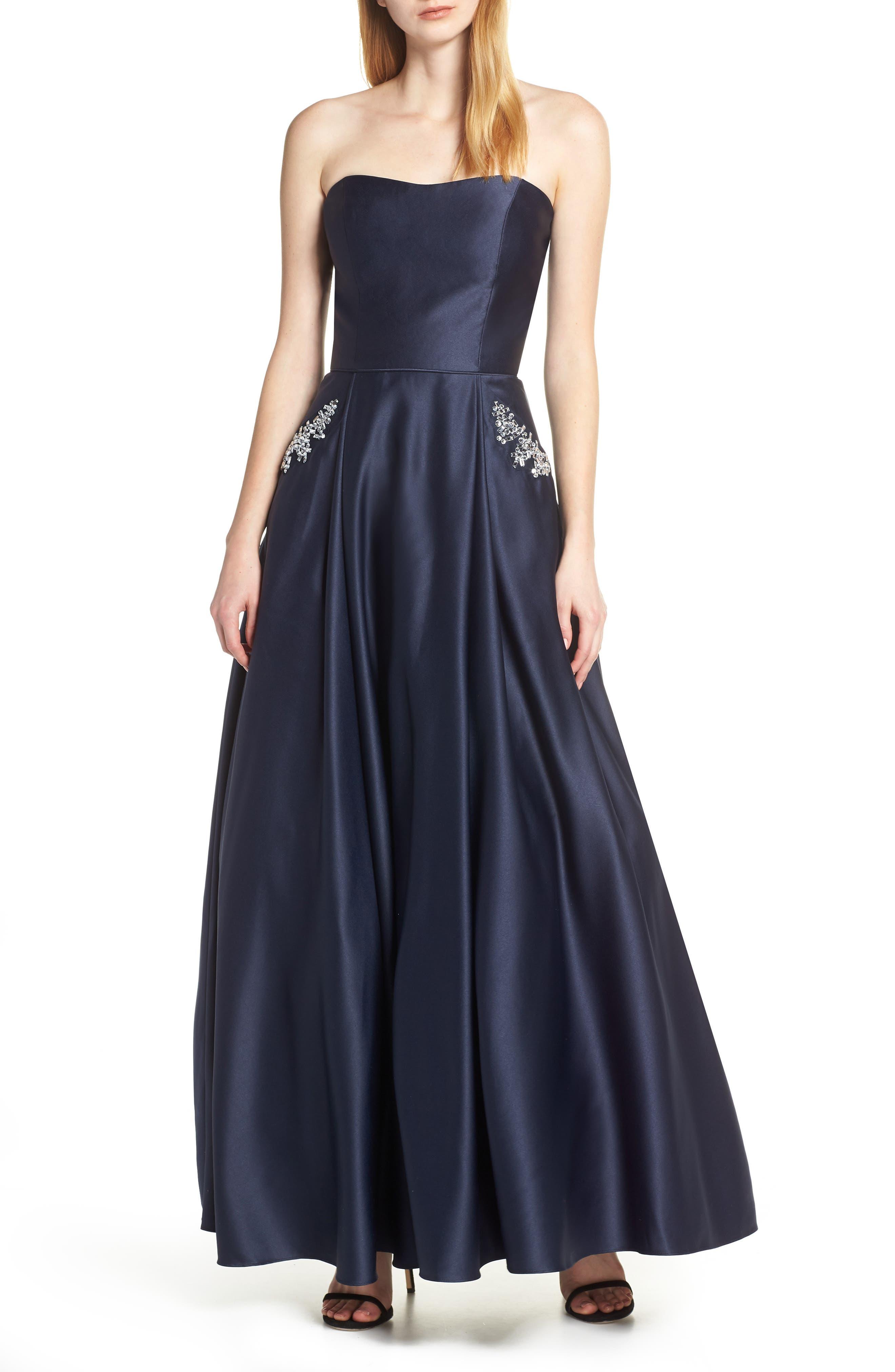 Blondie Nites Strapless Embellished Pocket Satin Evening Dress, Blue