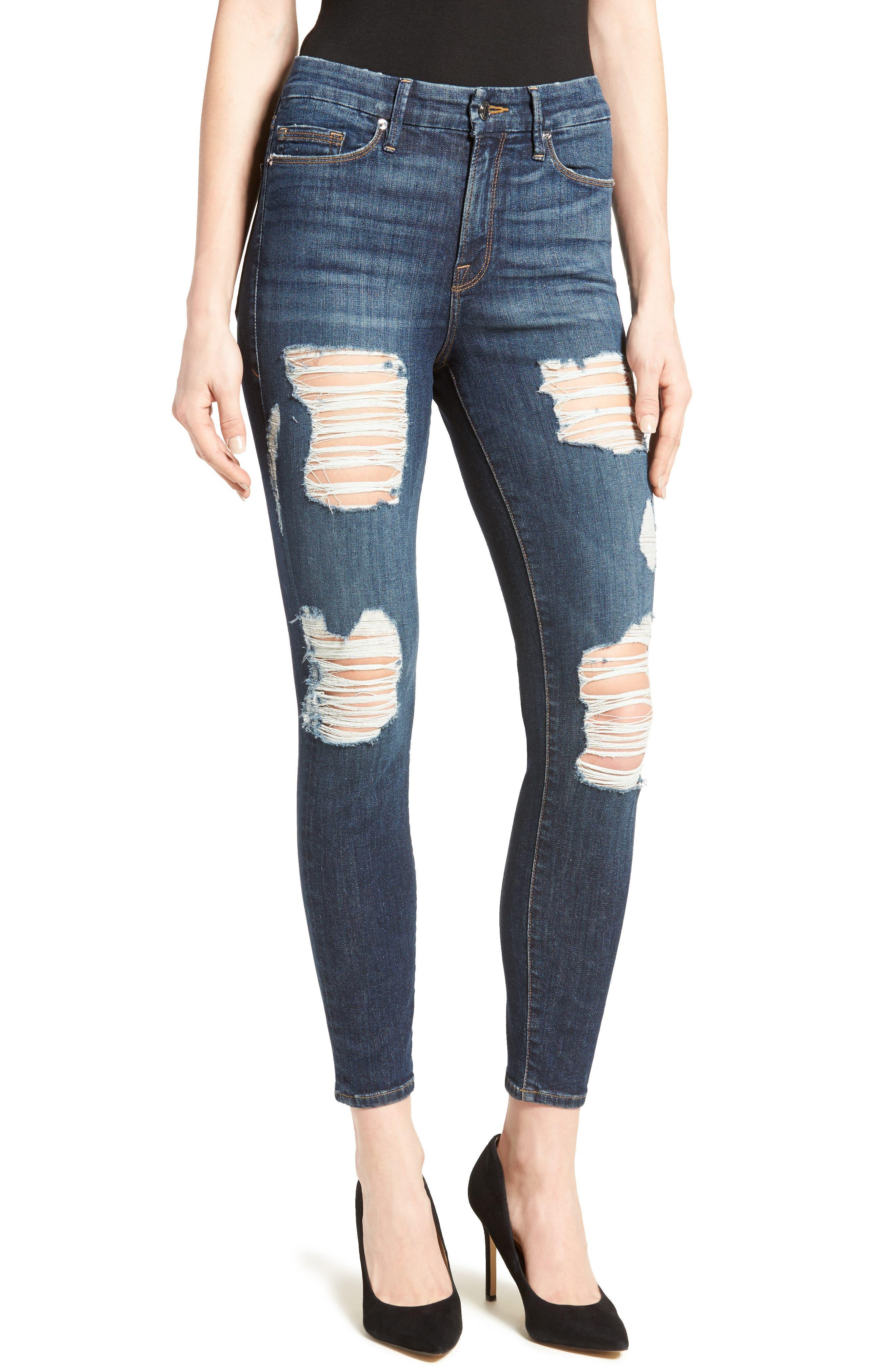 GOOD AMERICAN, Good Legs High Rise Crop Skinny Jeans, Main thumbnail 1, color, 401