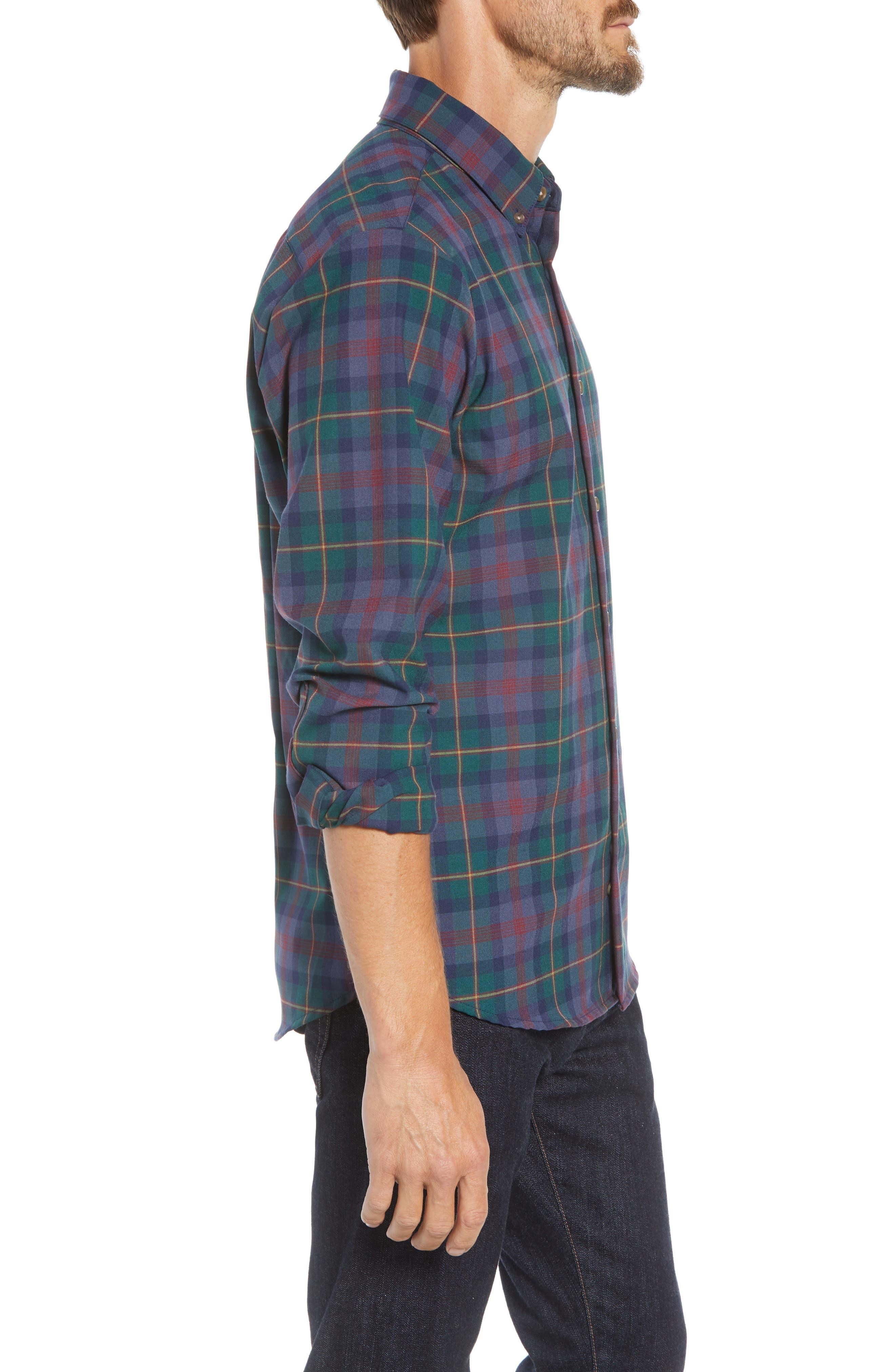 MIZZEN+MAIN, Yukon Trim Fit Flannel Performance Sport Shirt, Alternate thumbnail 4, color, GREEN