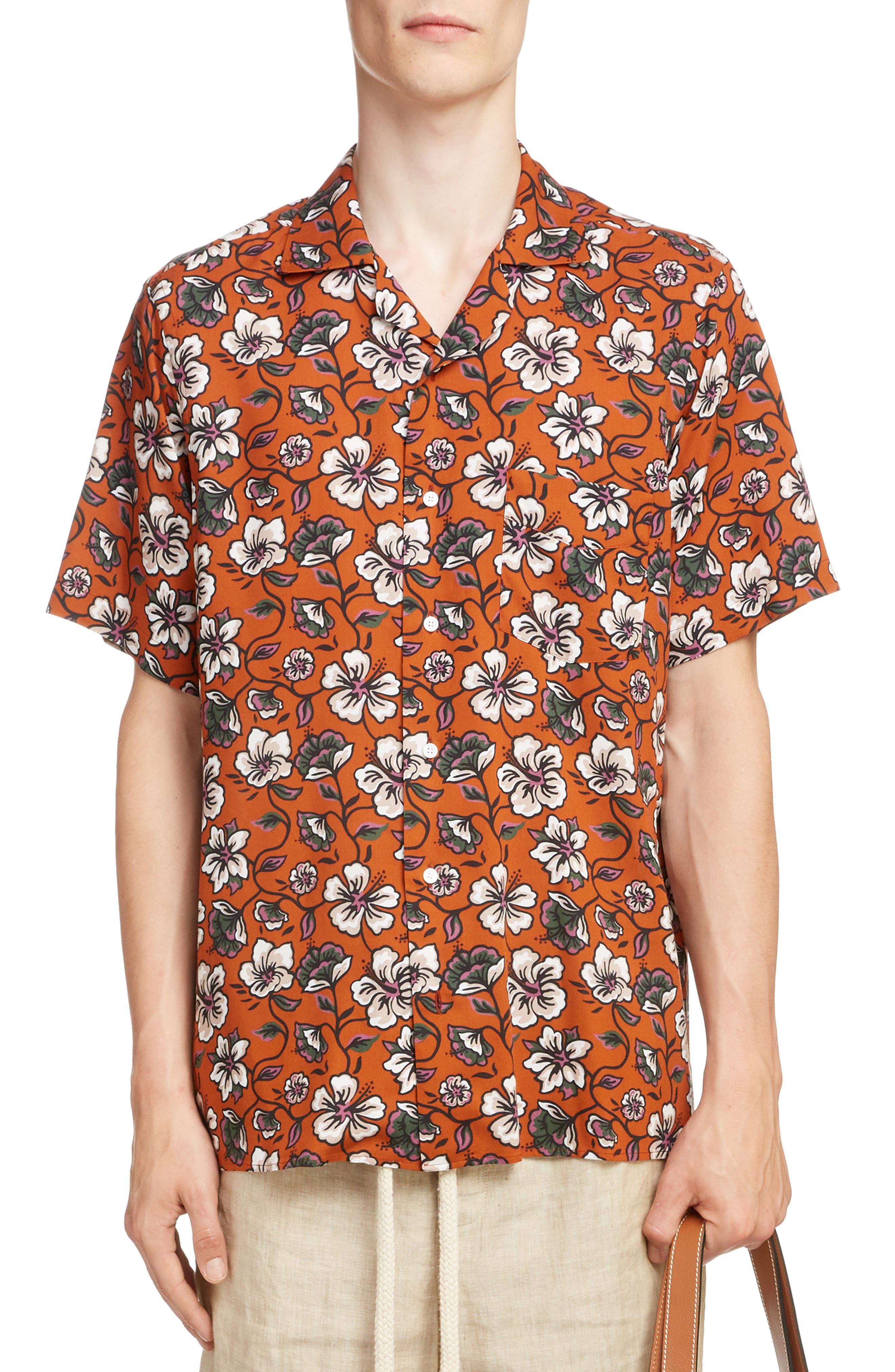 LOEWE, Floral Print Camp Shirt, Main thumbnail 1, color, 2103-WHITE/ BROWN