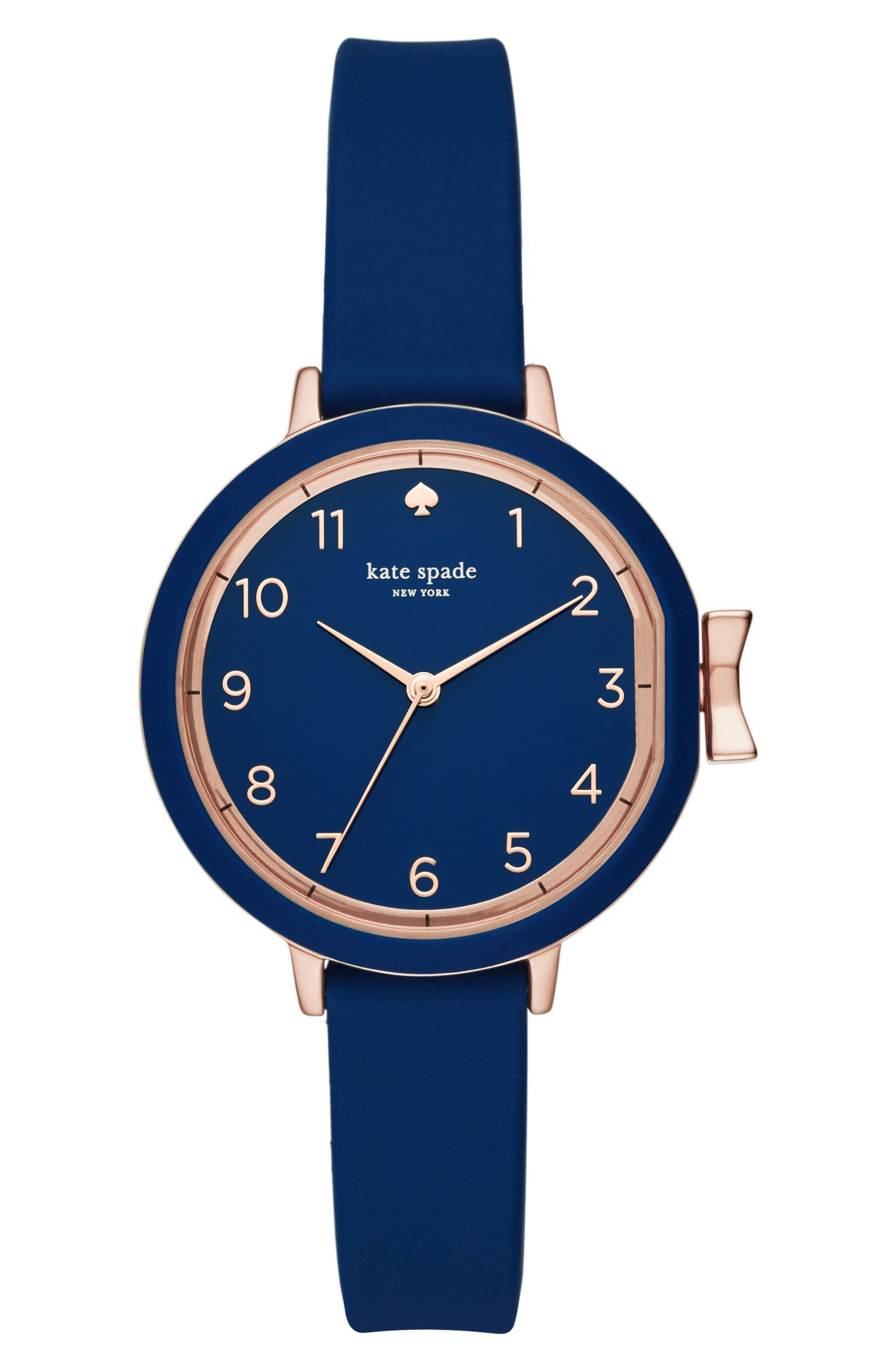 KATE SPADE NEW YORK park row silicone strap watch, 34mm, Main, color, BLUE/ ROSE GOLD
