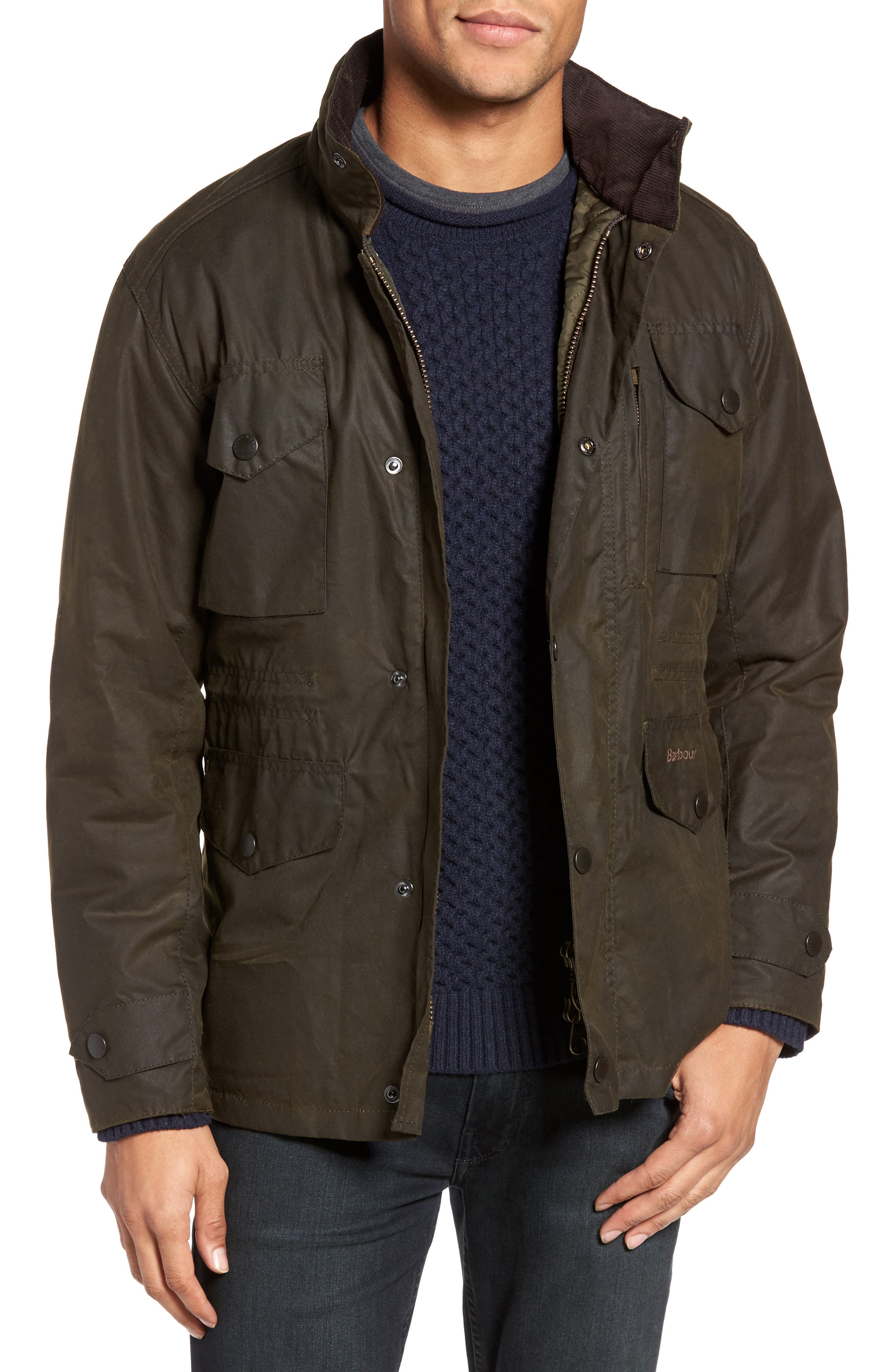 BARBOUR, Sapper Regular Fit Weatherproof Waxed Cotton Jacket, Main thumbnail 1, color, OLIVE