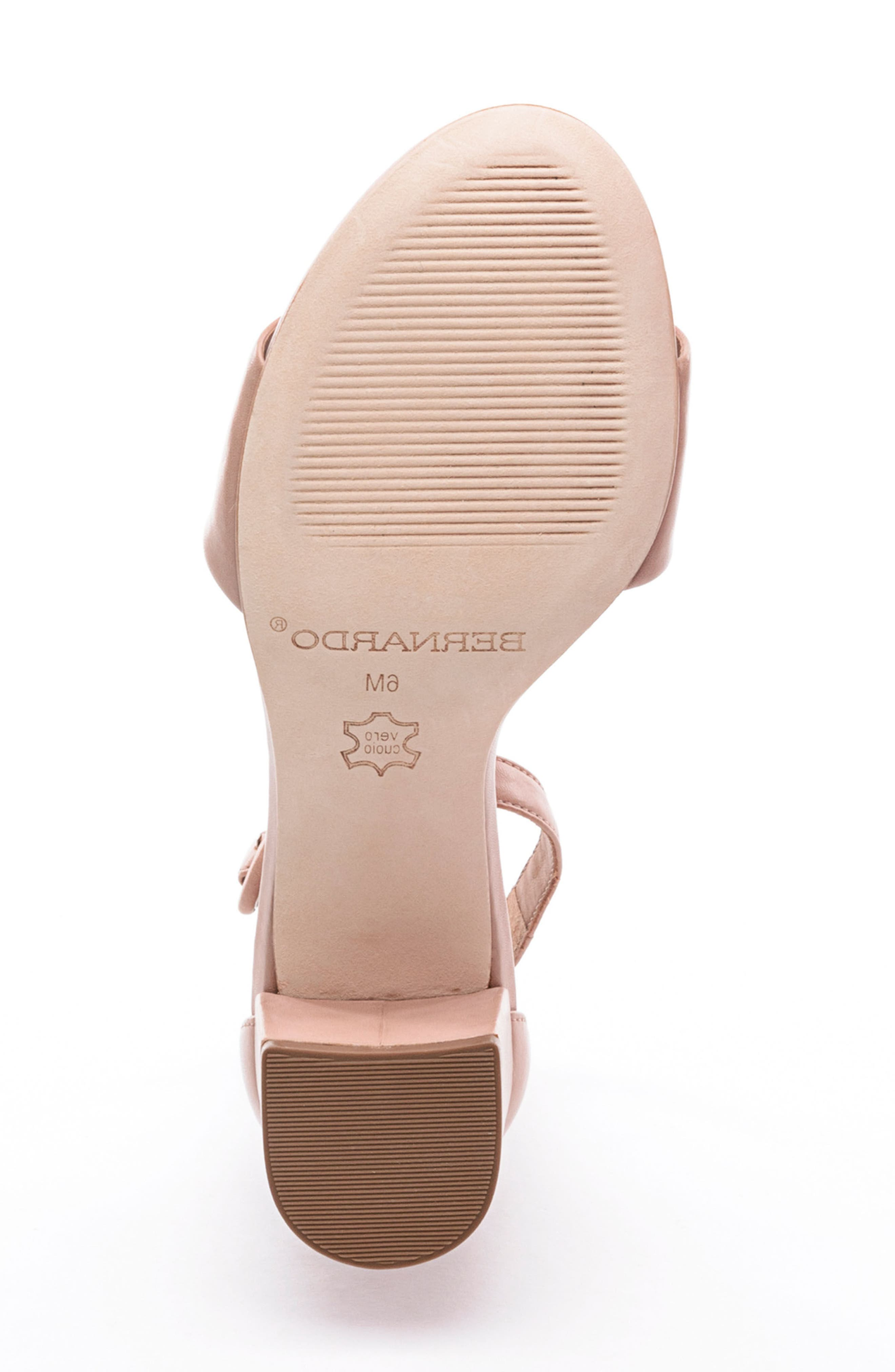 BERNARDO, Belinda Ankle Strap Sandal, Alternate thumbnail 6, color, BLUSH LEATHER