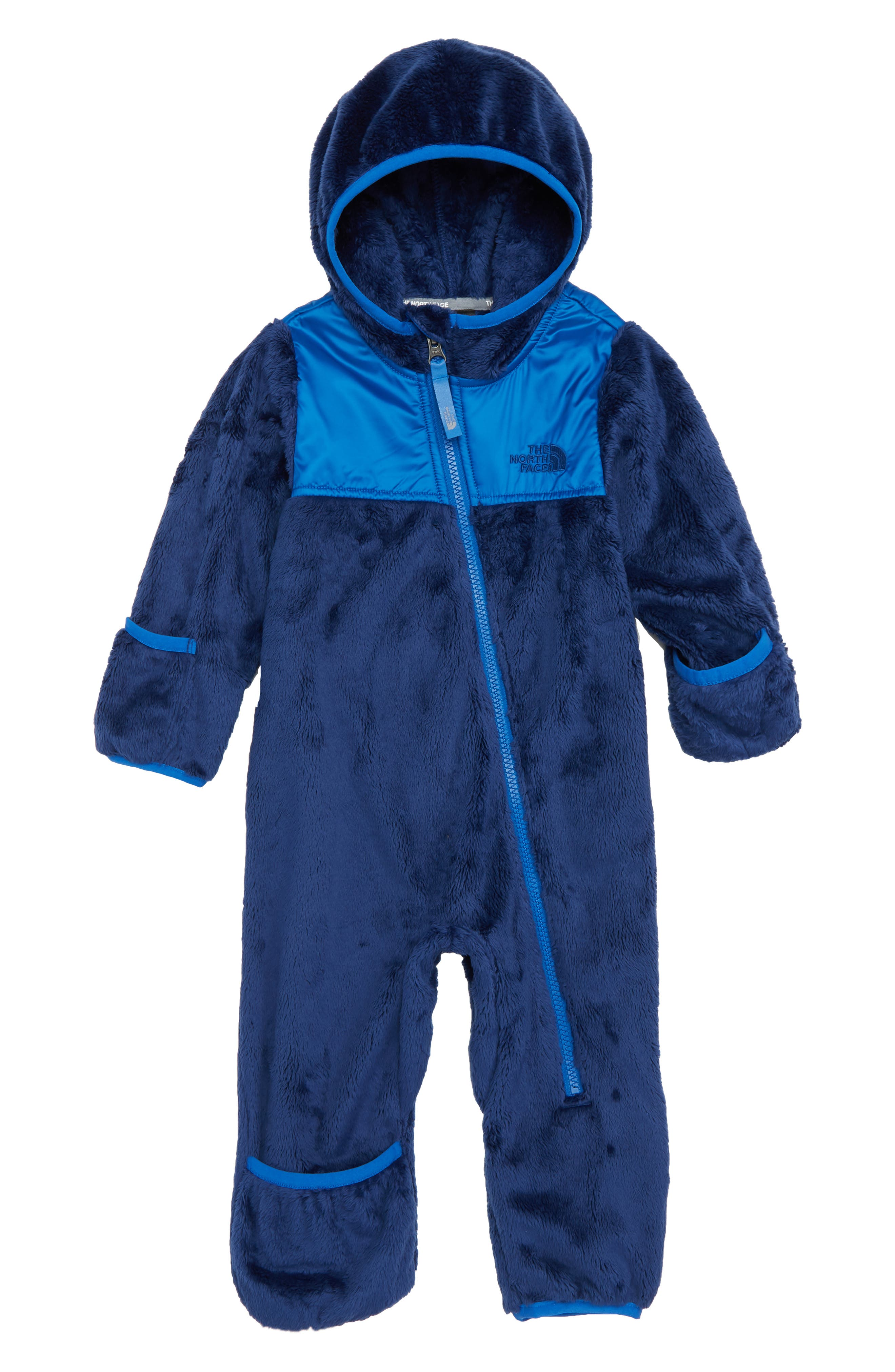THE NORTH FACE, Oso Hooded Fleece Romper, Main thumbnail 1, color, MIDLINE BLUE