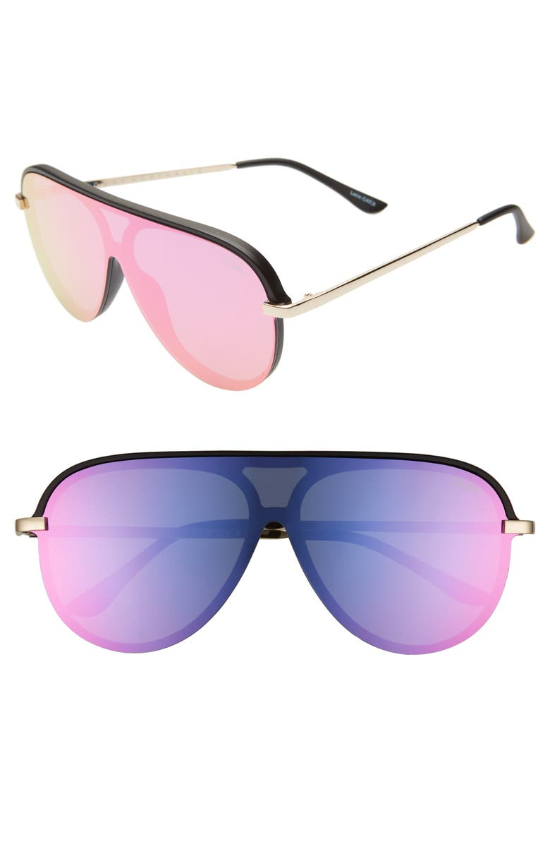 Quay Sunglasses X JLO EMPIRE 57MM SHIELD SUNGLASSES - BLACK/ PINK/ PURPLE