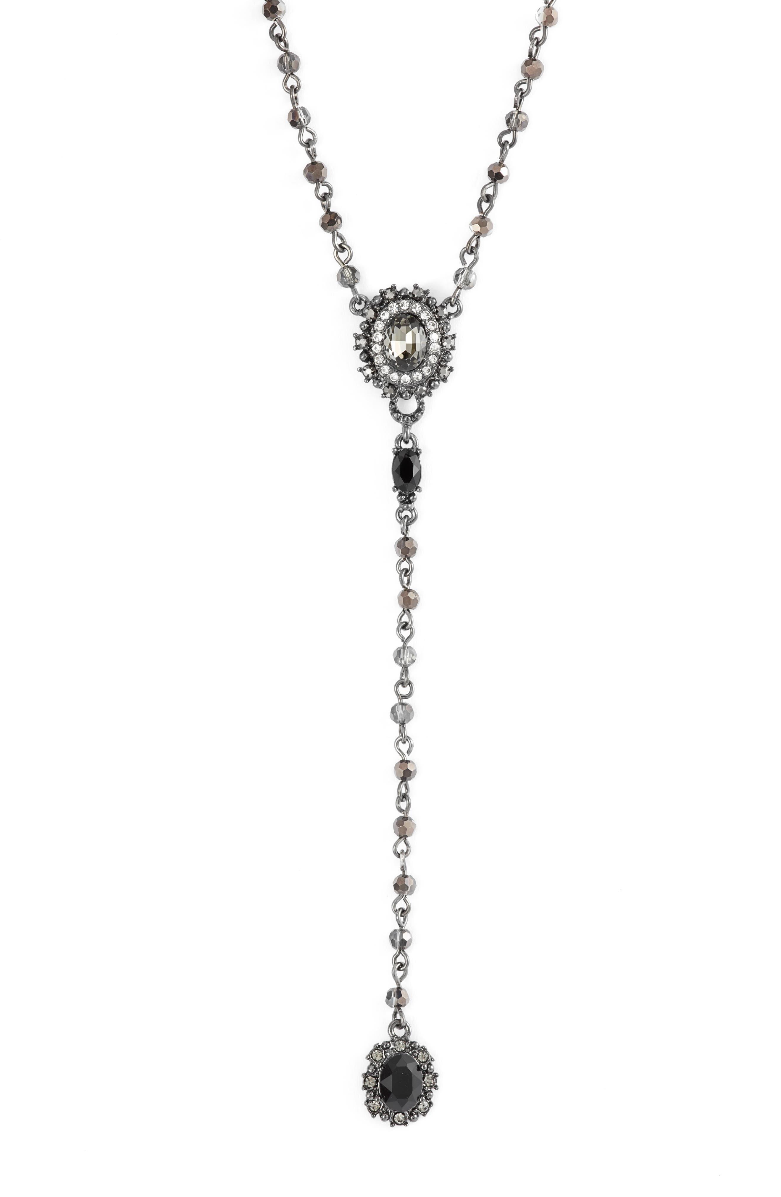 MARCHESA Crystal Y-Necklace, Main, color, JET/ HEMATITE