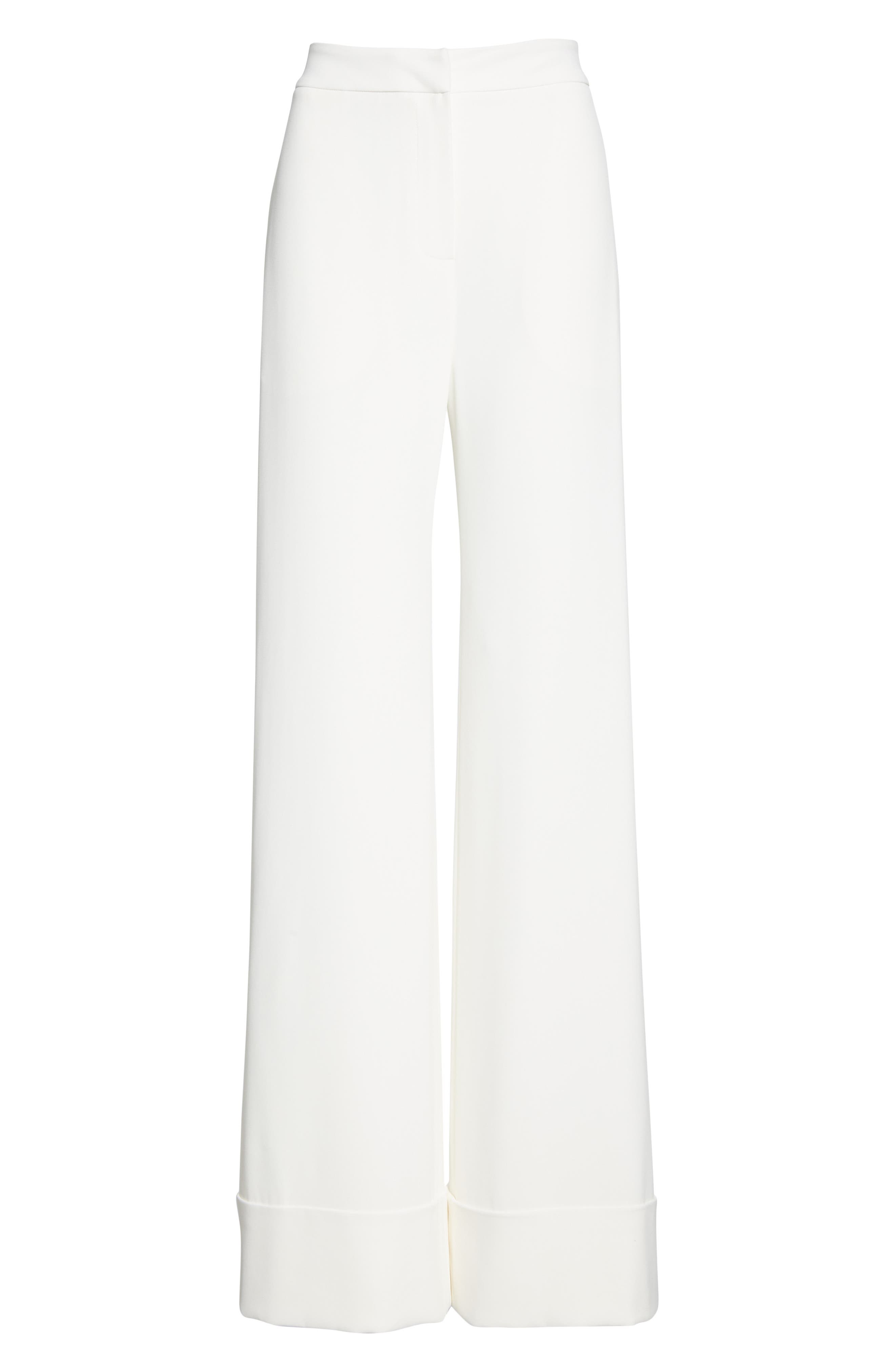 BRANDON MAXWELL, Wide Leg Cuff Pants, Alternate thumbnail 6, color, IVORY