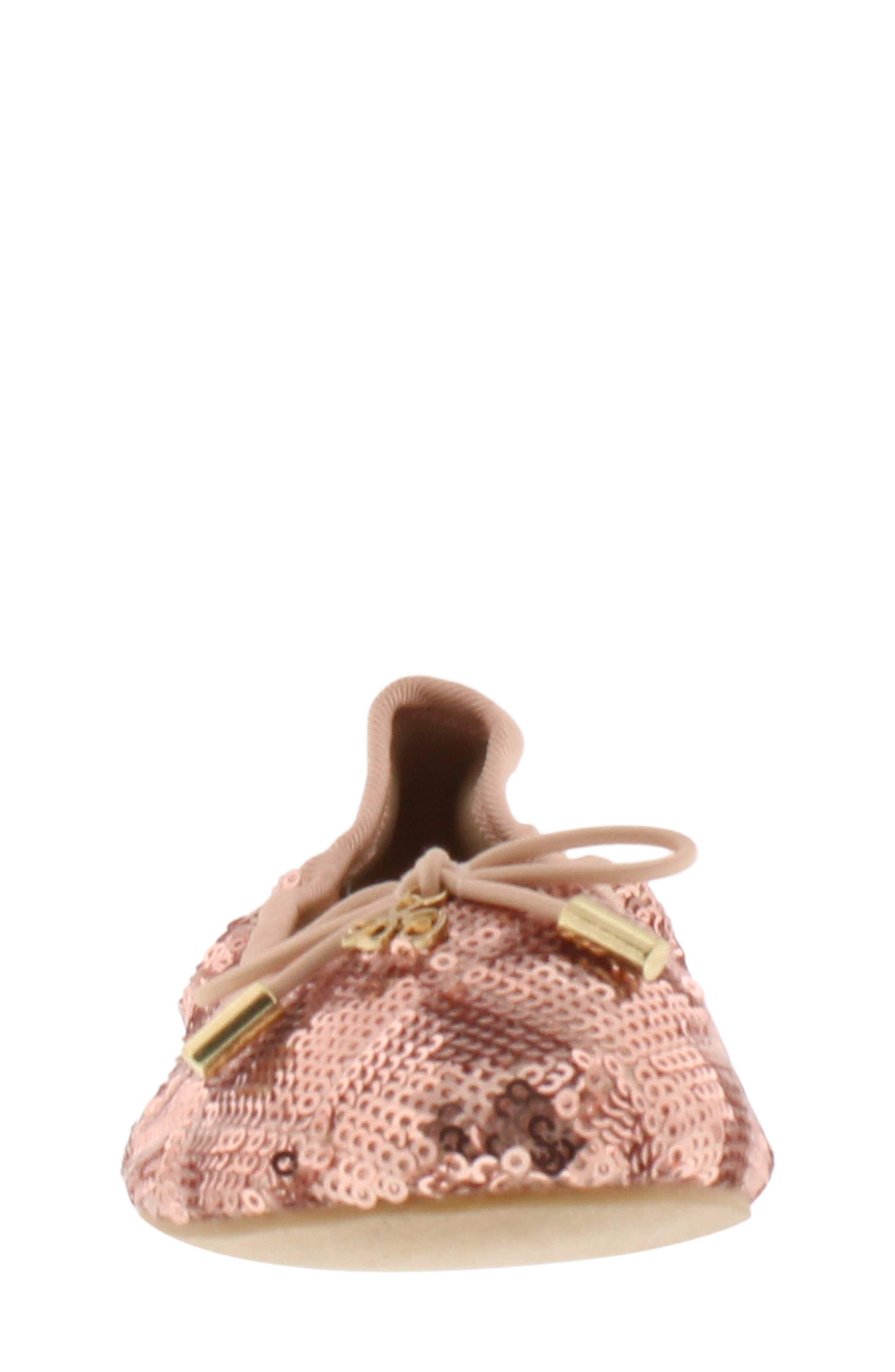 SAM EDELMAN, Felicia Sequin Ballet Flat, Alternate thumbnail 4, color, ROSE GOLD