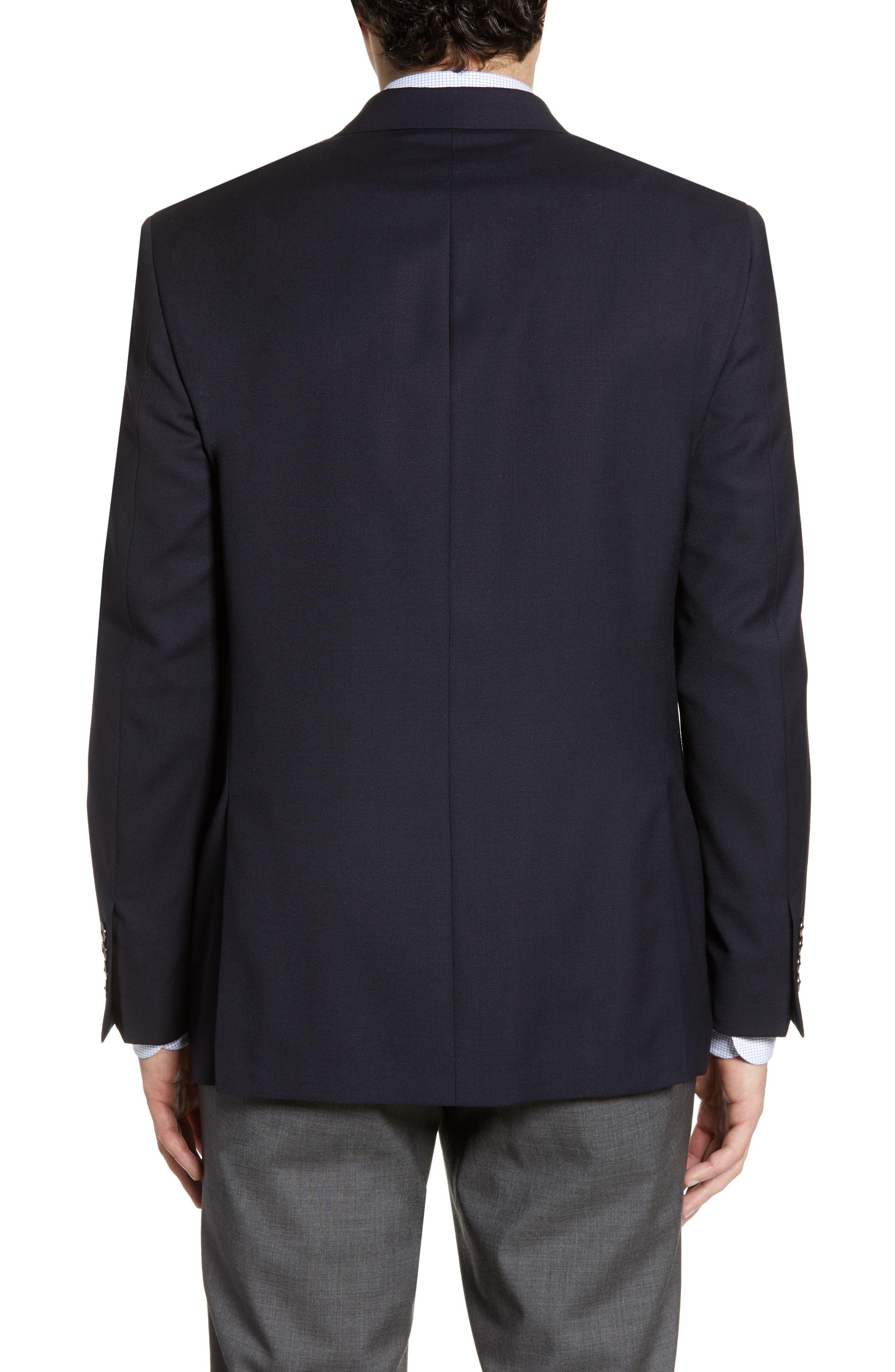 HART SCHAFFNER MARX, New York Classic Fit Wool Blend Blazer, Alternate thumbnail 3, color, NAVY