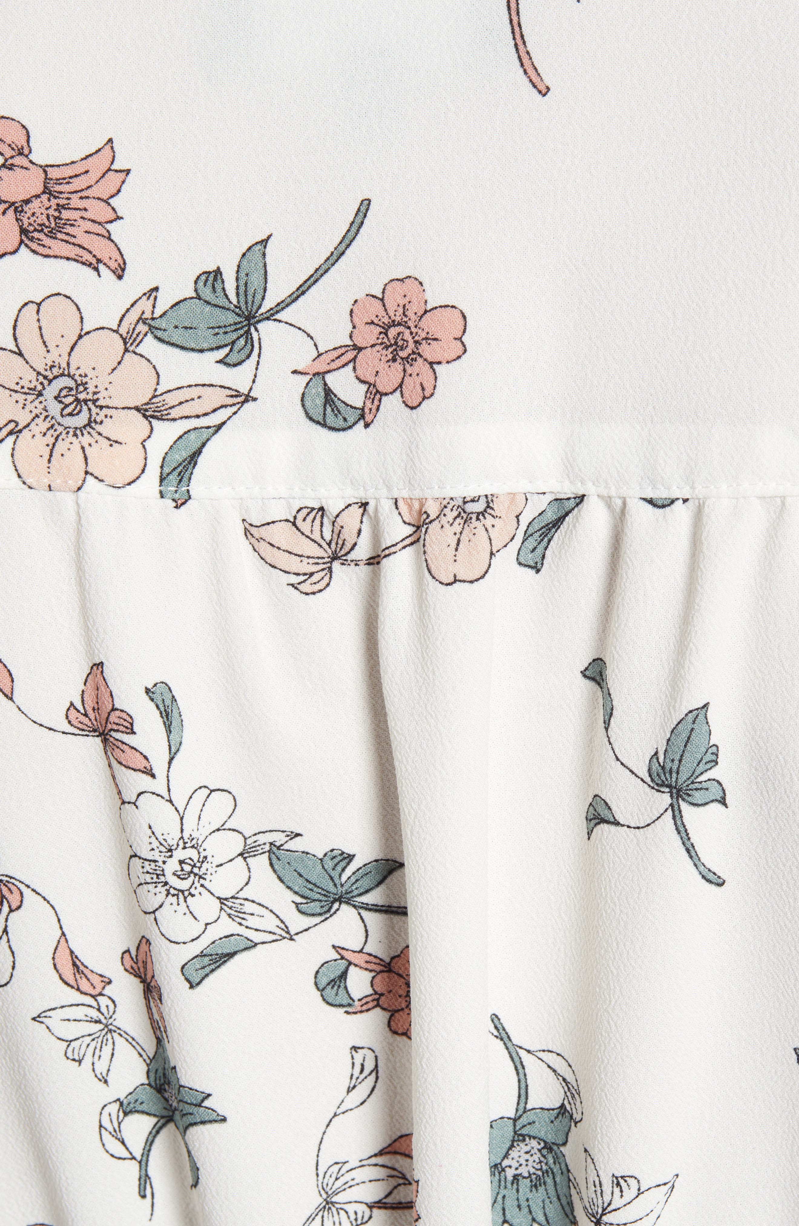 1.STATE, Floral Belle Tie Sleeve Midi Dress, Alternate thumbnail 6, color, 100