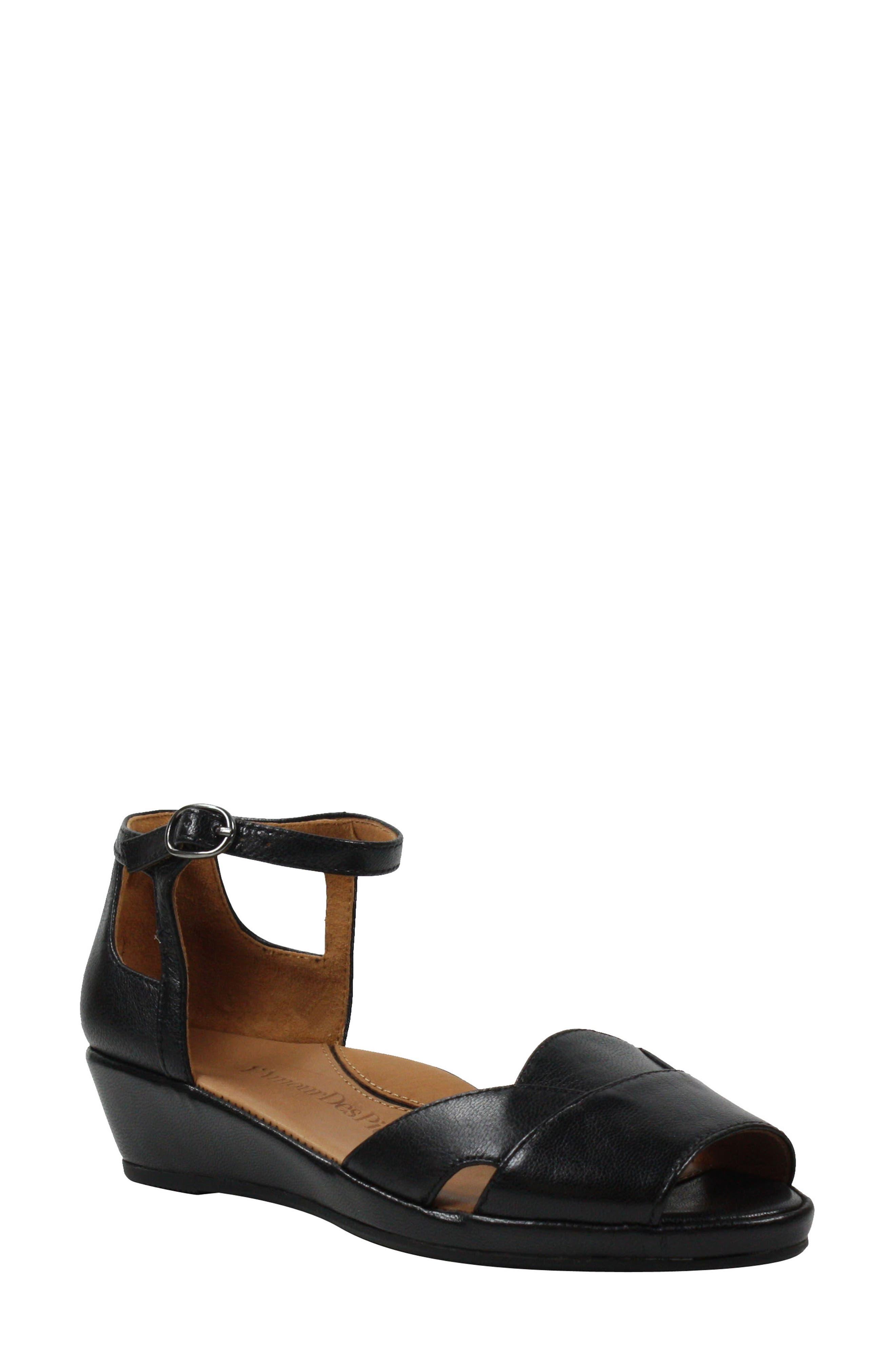 L'AMOUR DES PIEDS Betterton Sandal, Main, color, BLACK LEATHER