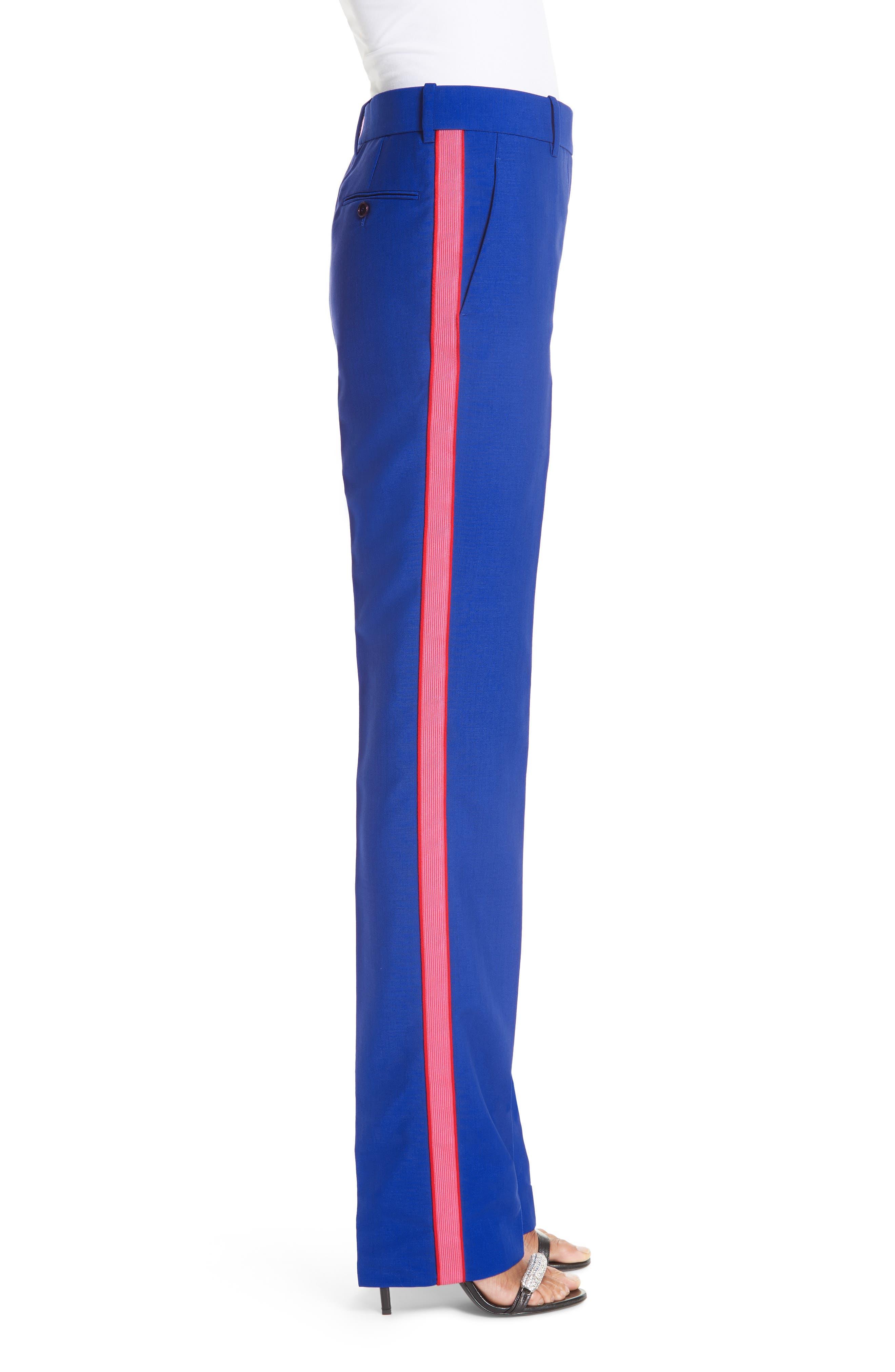 CALVIN KLEIN 205W39NYC, Side Stripe Mohair & Wool Straight Leg Pants, Alternate thumbnail 3, color, BRIGHT BLUE