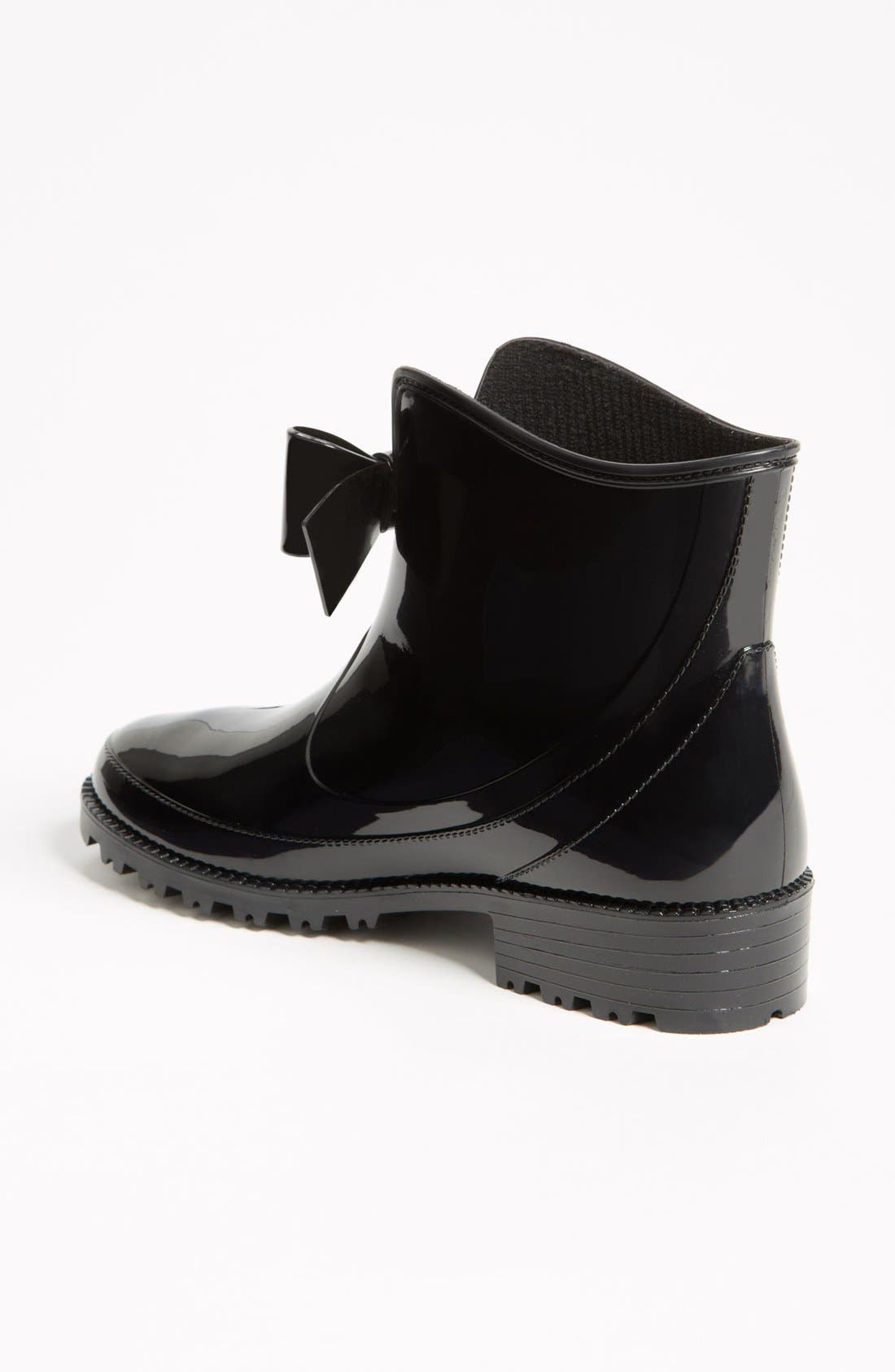 RED VALENTINO, 'Bow' Rain Boot, Alternate thumbnail 2, color, 001